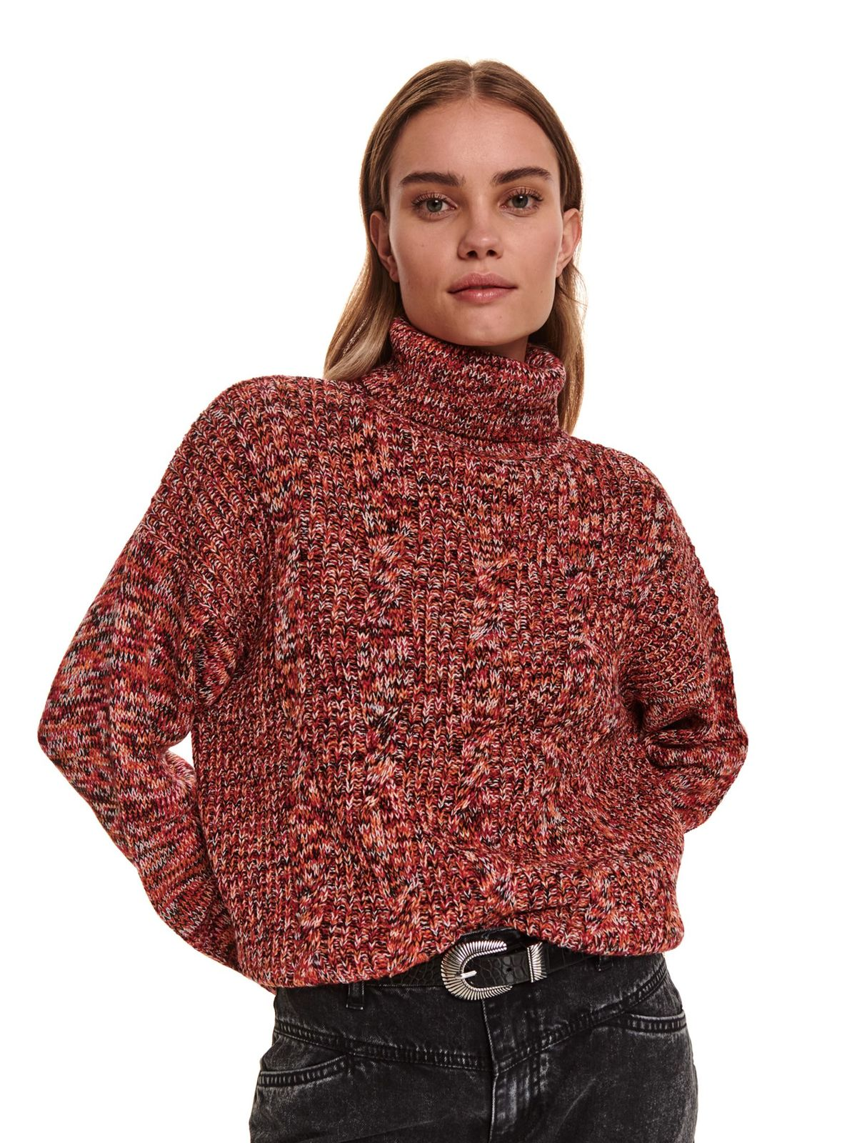 Pink sweater casual knitted flared turtleneck