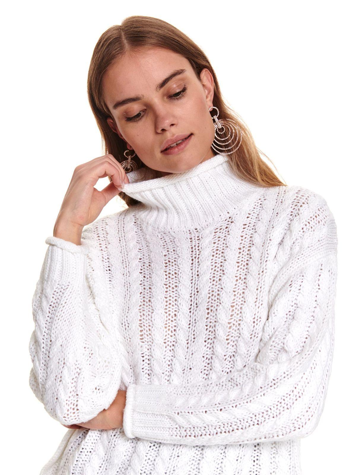 Pulover Top Secret alb casual tricotat pe gat