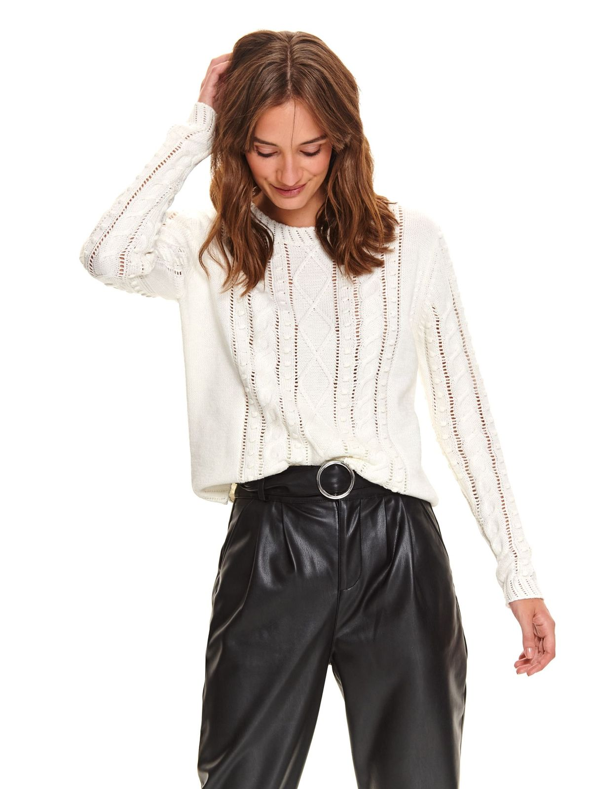 White sweater casual knitted flared with rounded cleavage