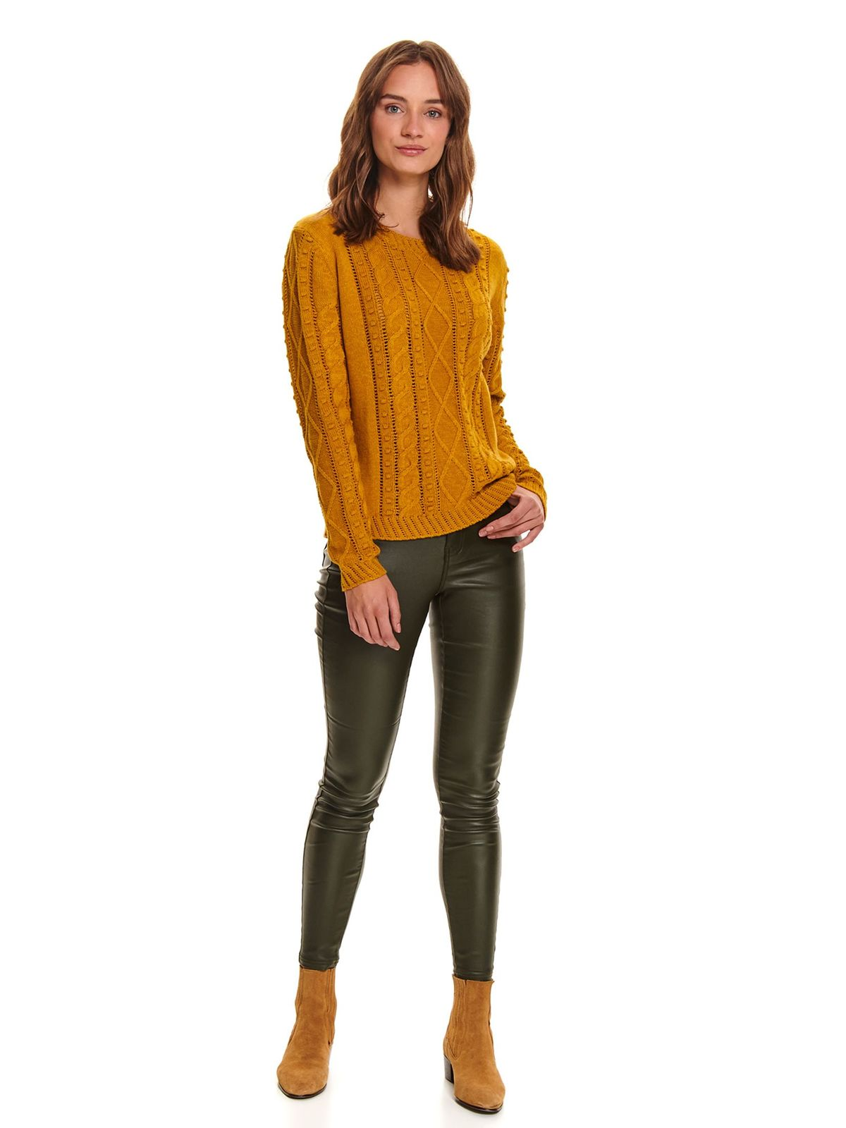 Yellow sweater casual knitted flared with rounded cleavage