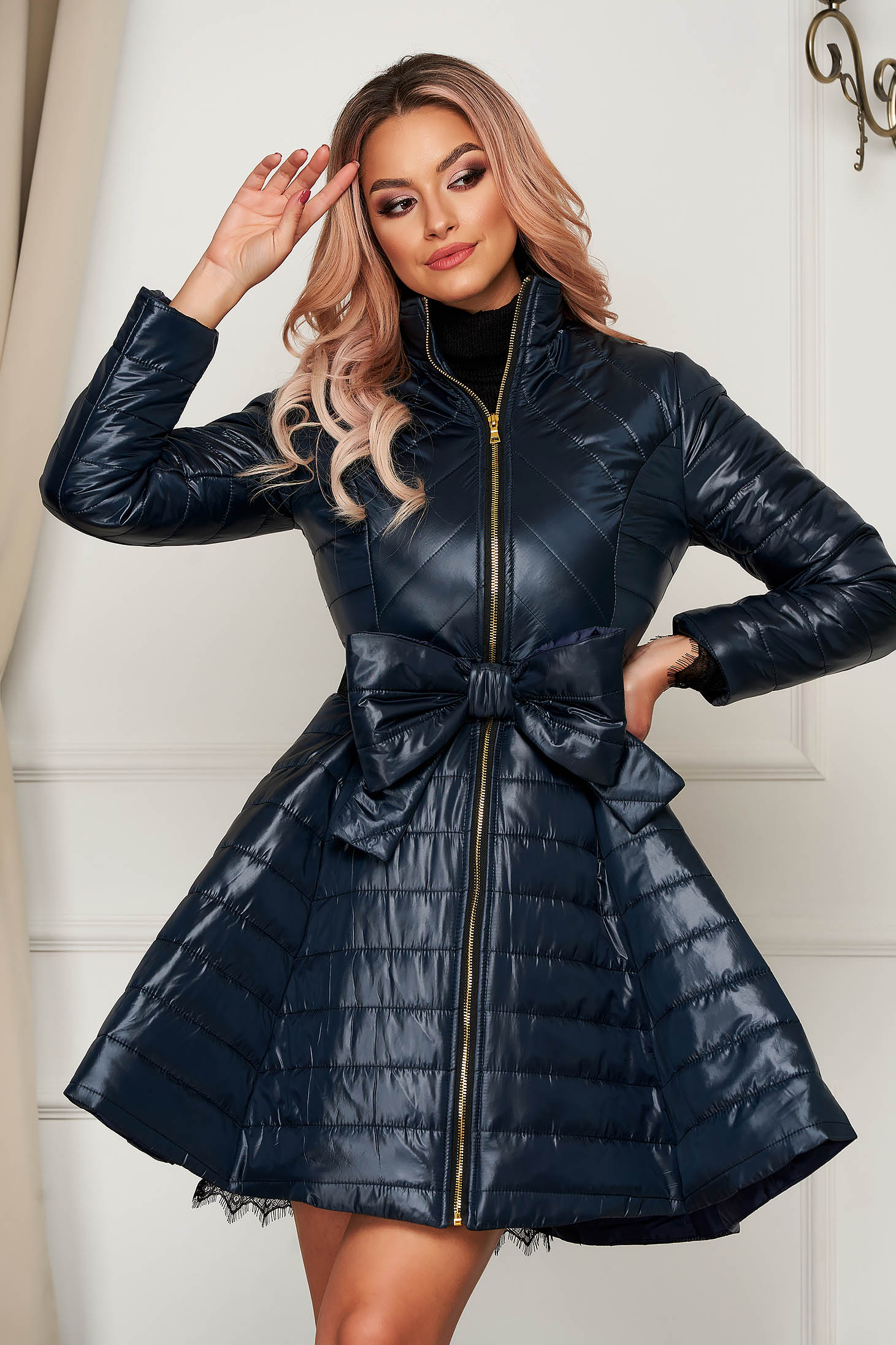 Darkblue jacket elegant midi from slicker flaring cut with bow