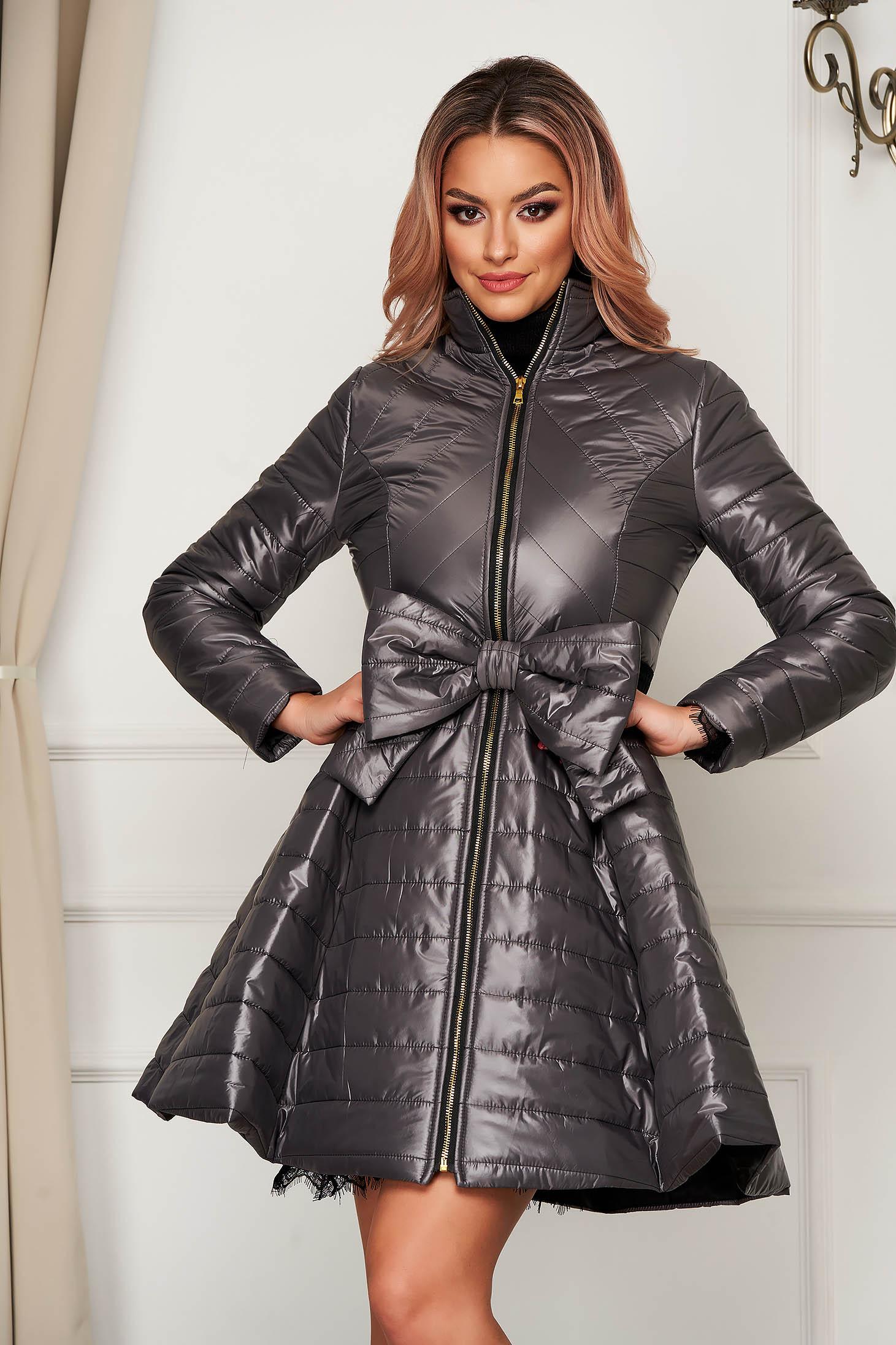 Grey jacket elegant midi from slicker flaring cut with bow