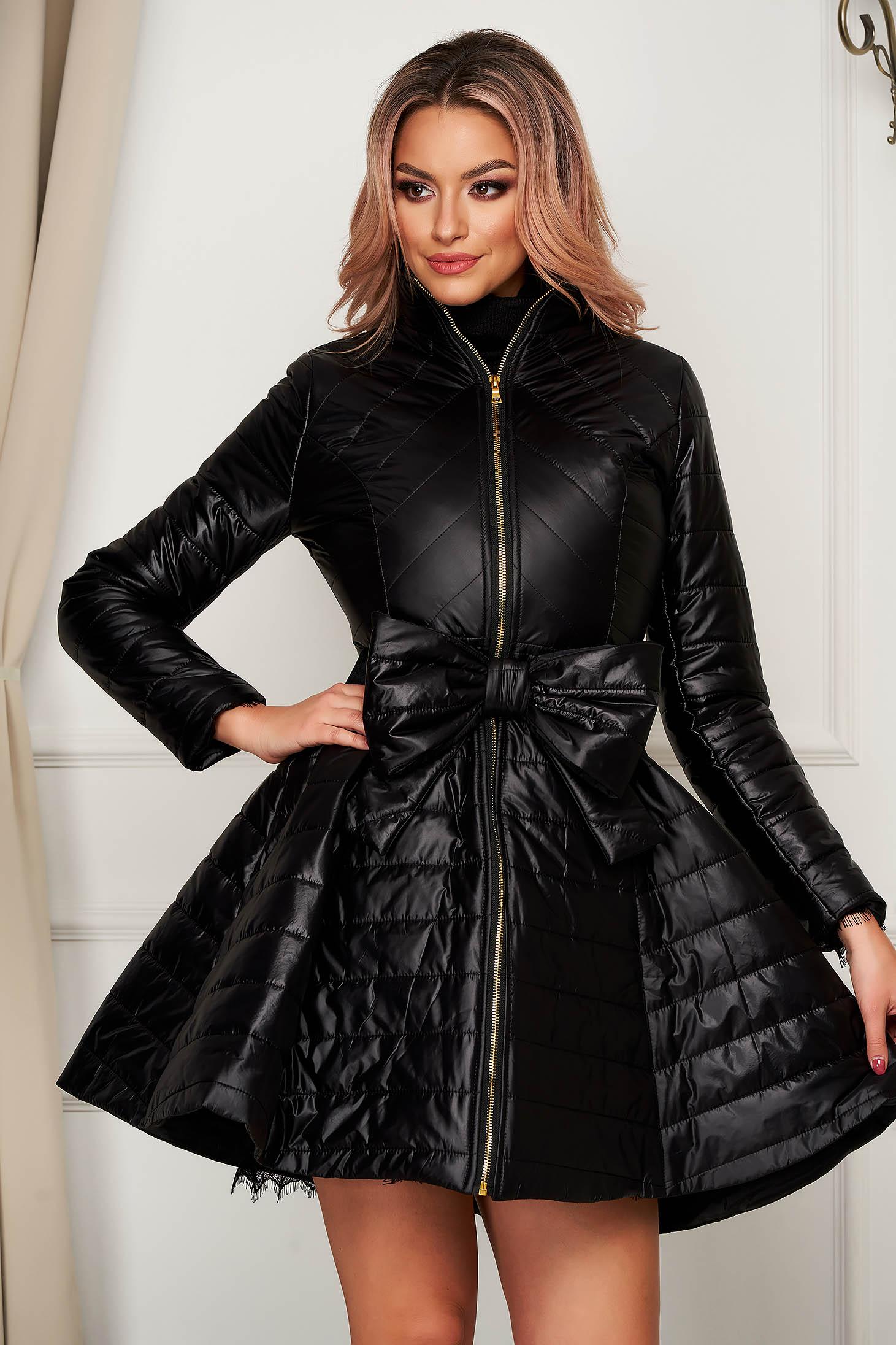 Black jacket elegant midi from slicker flaring cut with bow