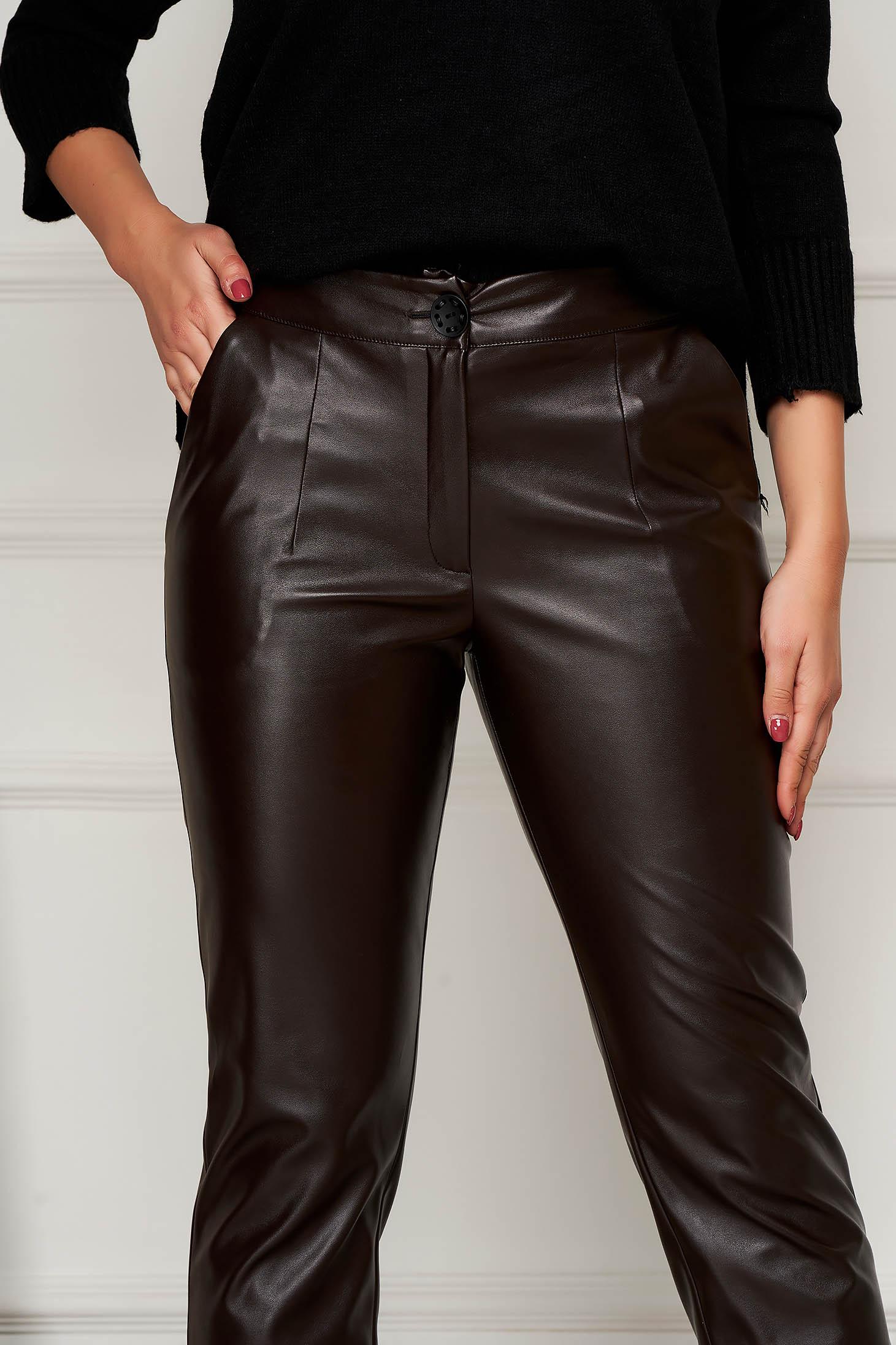 Barna casual zsebes kónikus nadrág műbőrből