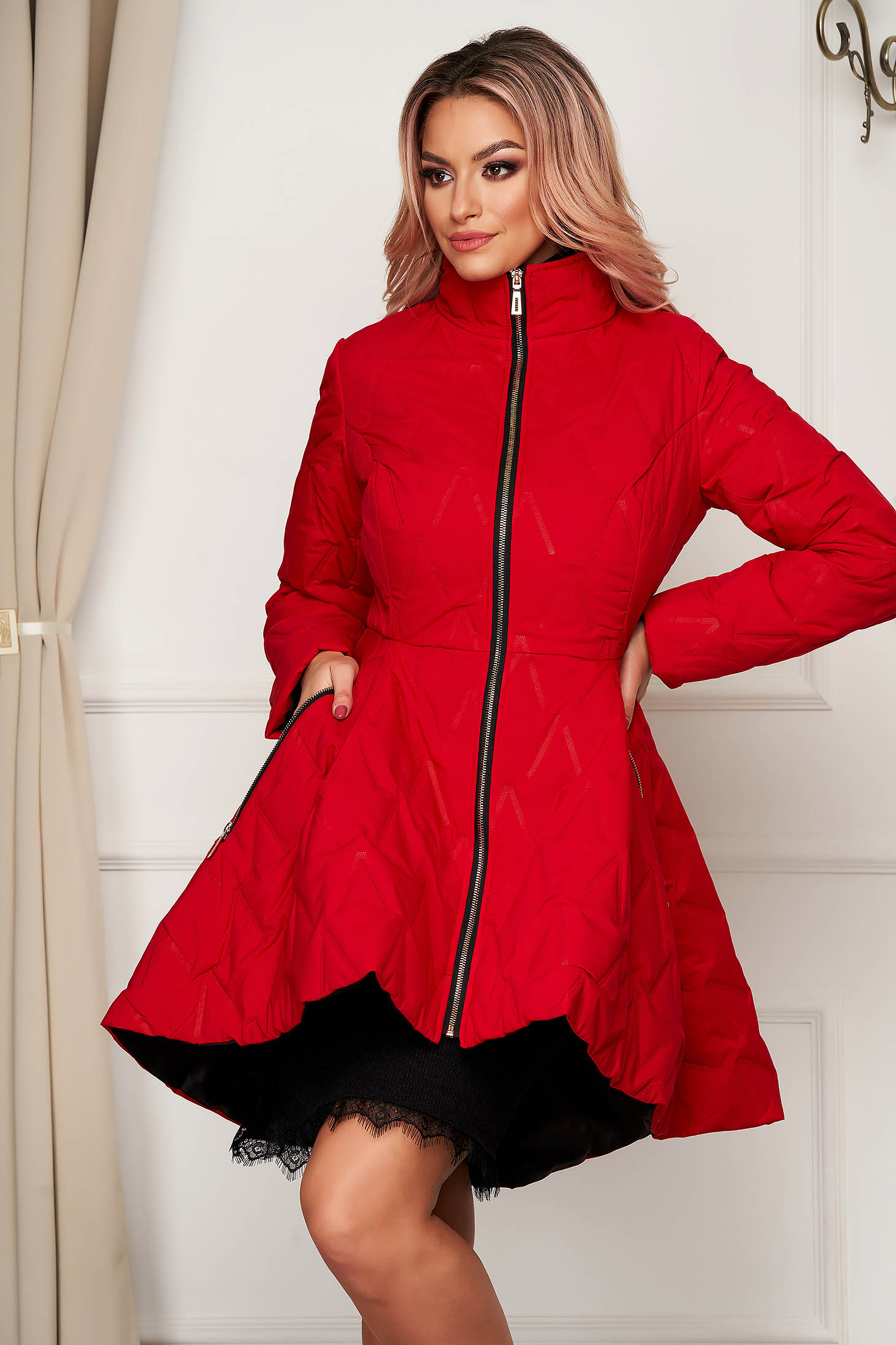 Red jacket elegant midi from slicker with pockets flaring cut