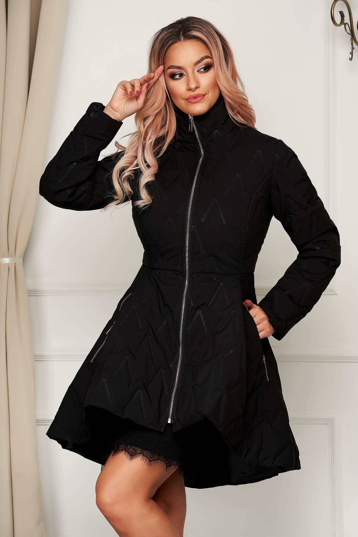 Black jacket elegant midi from slicker with pockets flaring cut