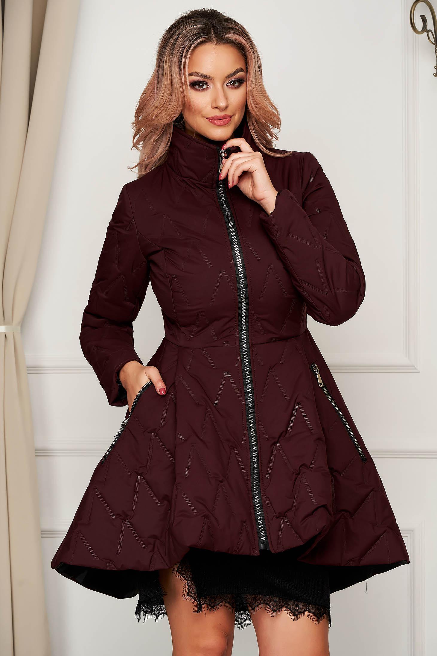 Burgundy jacket elegant midi from slicker with pockets flaring cut
