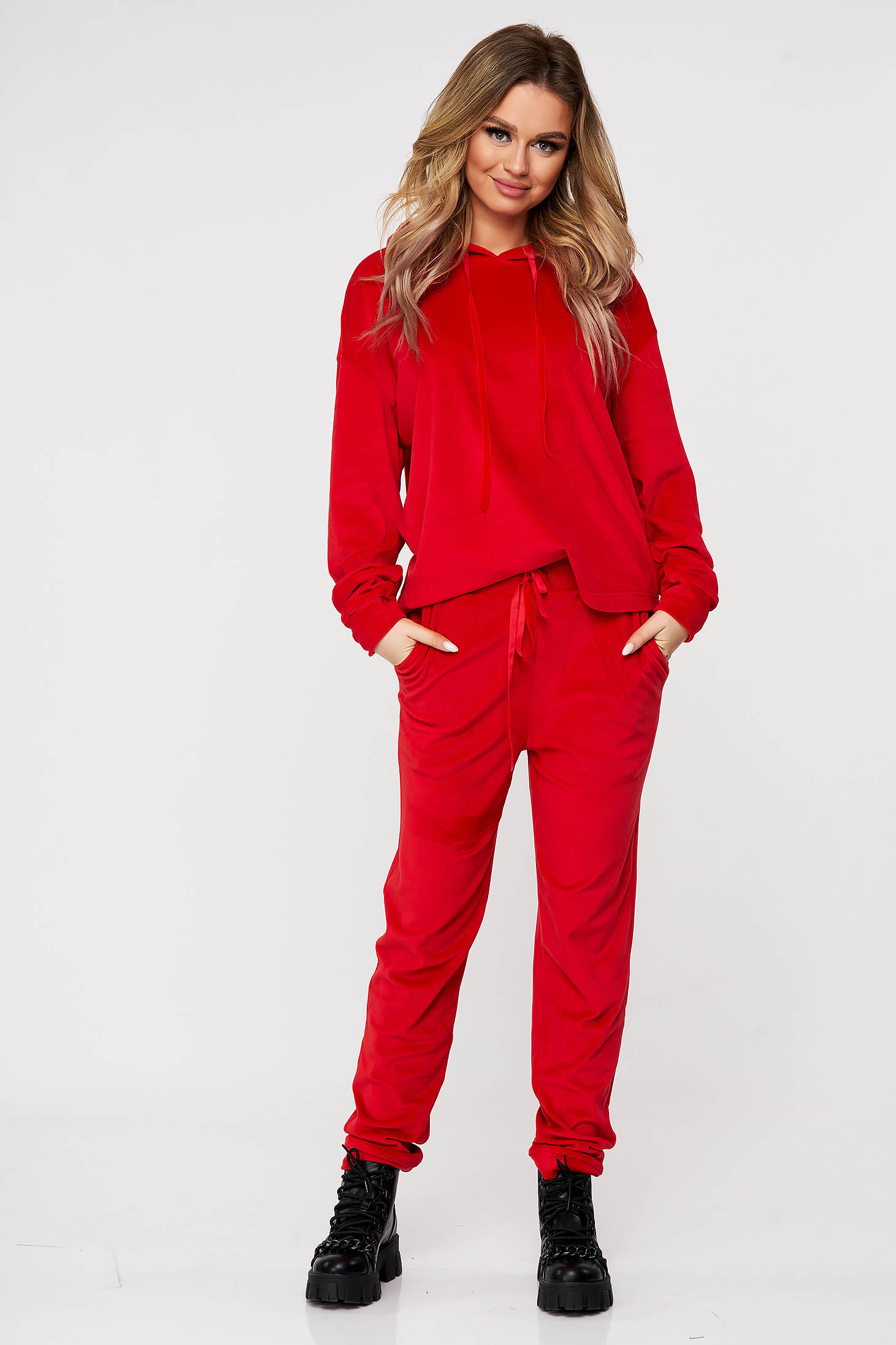 Red sport 2 pieces casual velvet 2 pieces flared with undetachable hood