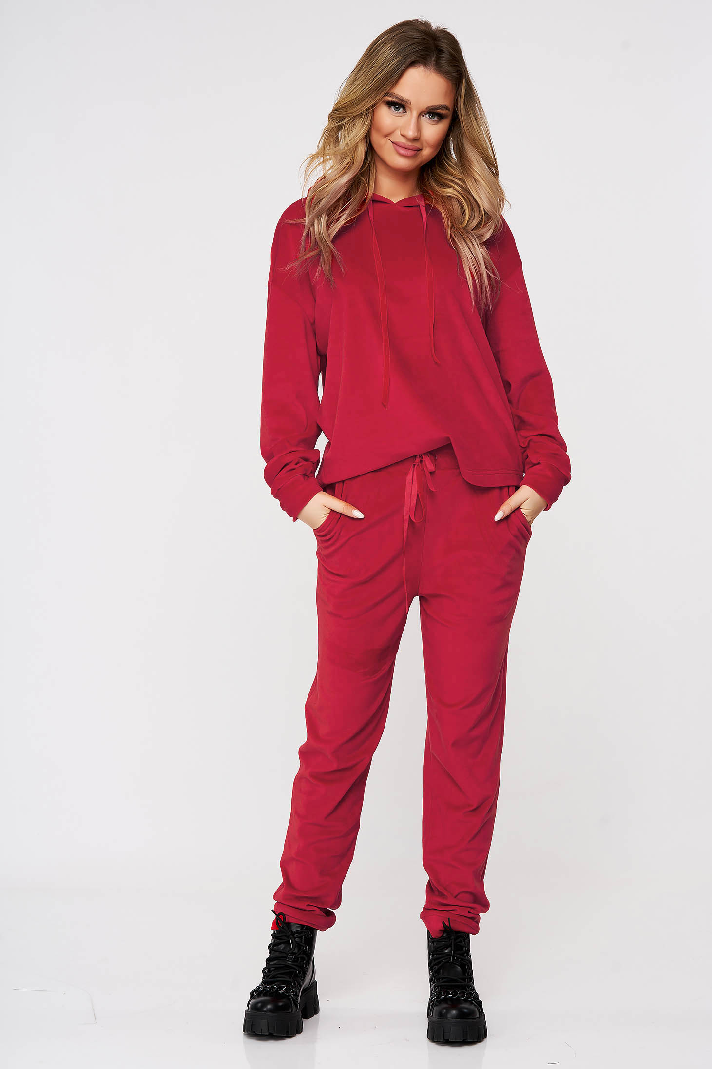 Burgundy sport 2 pieces casual 2 pieces flared with undetachable hood