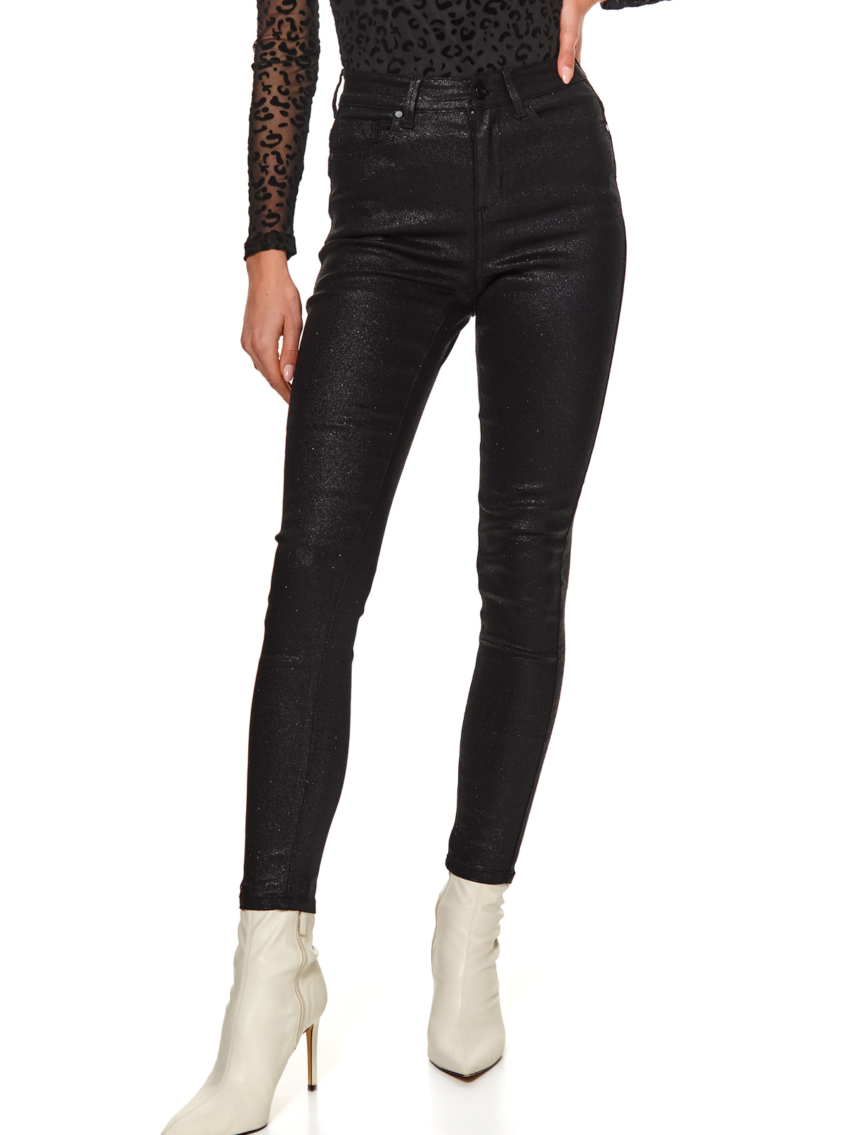 Black trousers casual long conical with pockets with glitter details