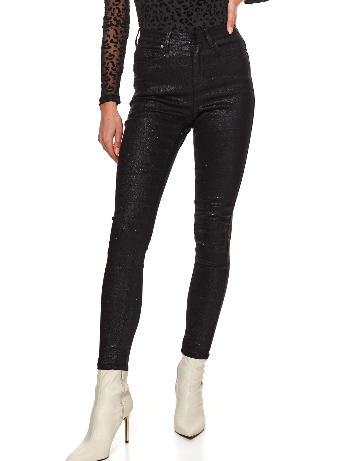 Fekete casual zsebes hosszú kónikus csillogó nadrág