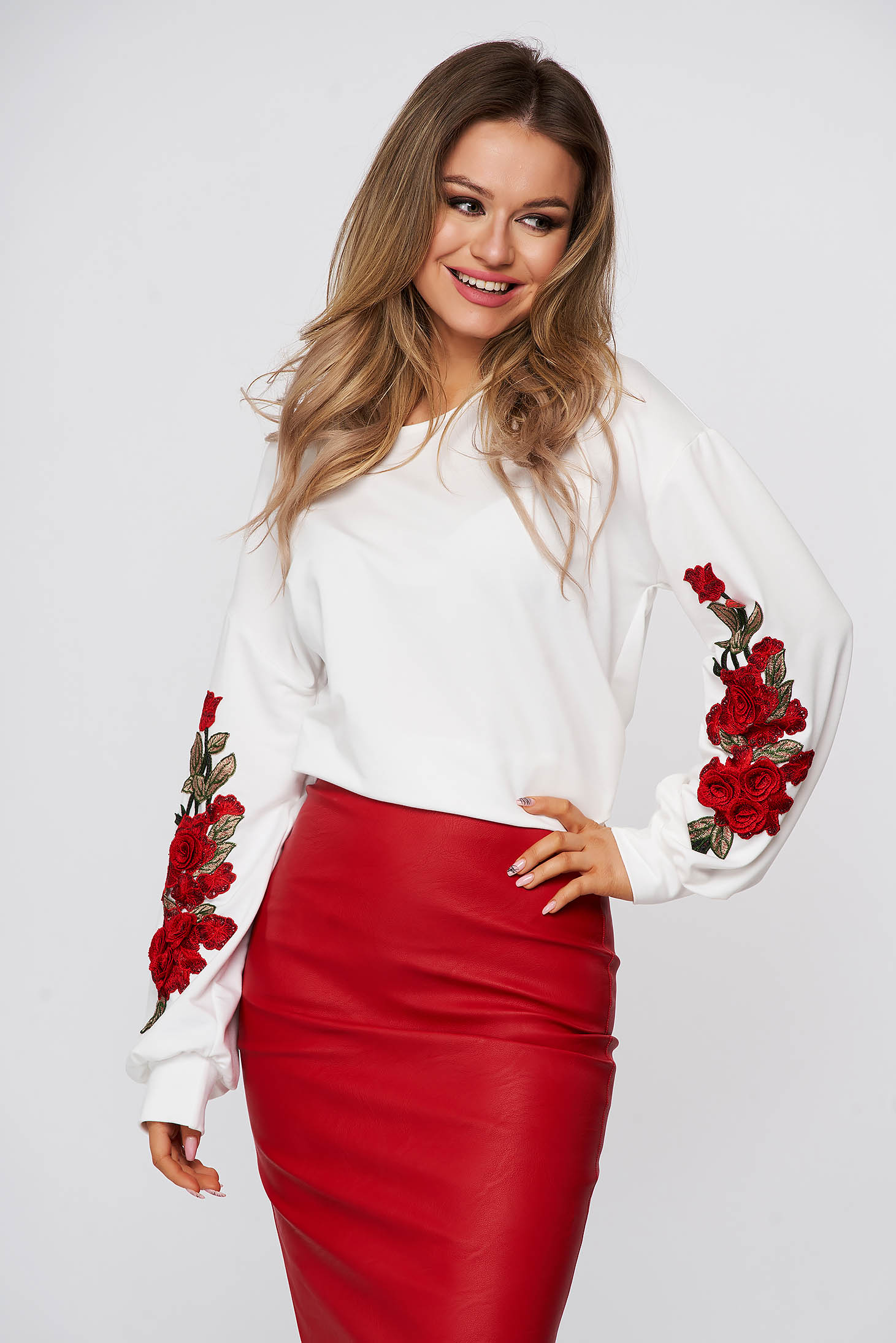 White women`s blouse StarShinerS flared with embroidery details