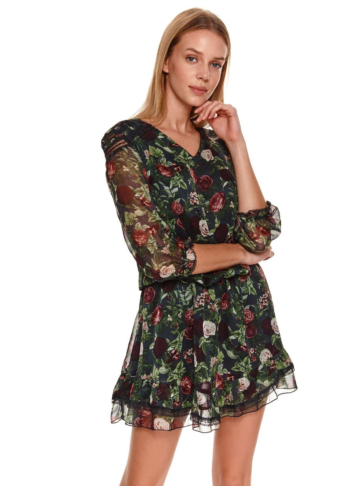 Darkblue dress casual from veil fabric short cut cloche with elastic waist