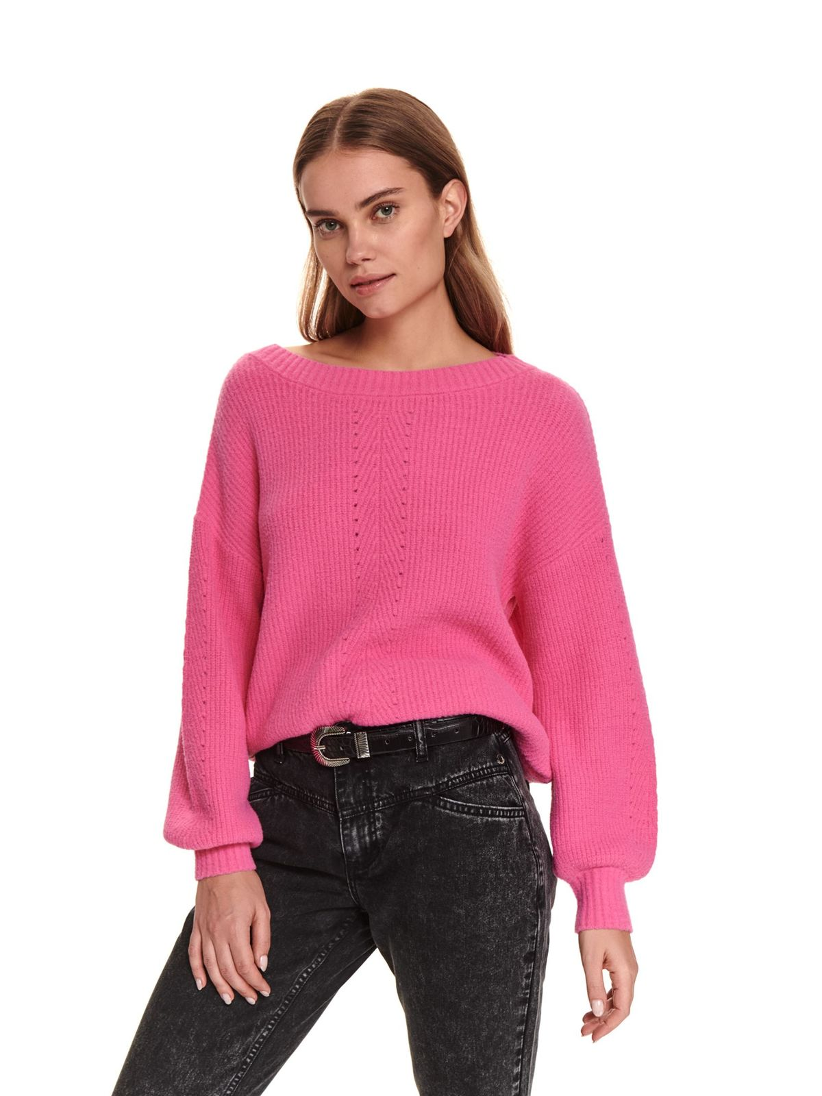 Pink sweater casual knitted flared
