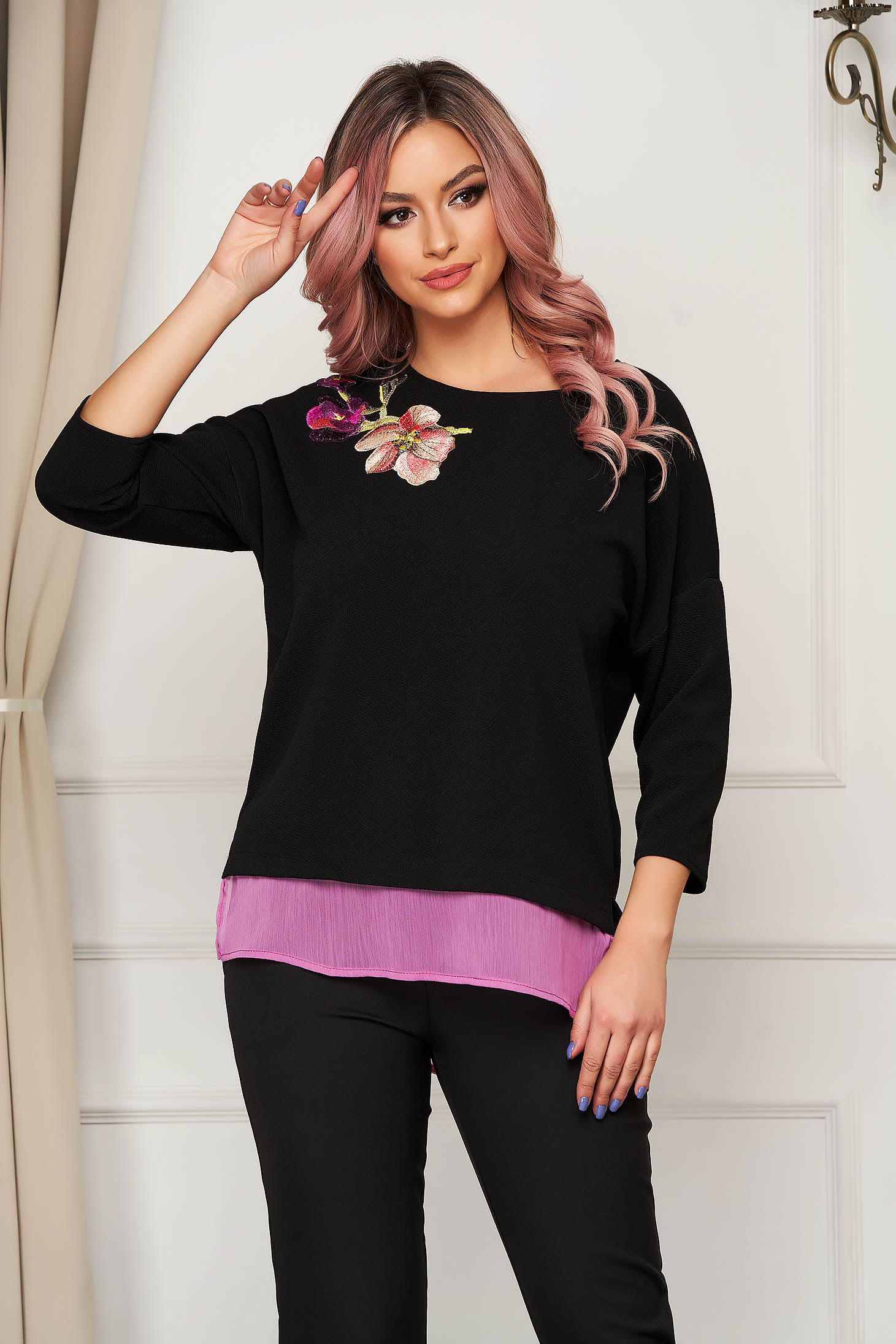 StarShinerS flared purple women`s blouse