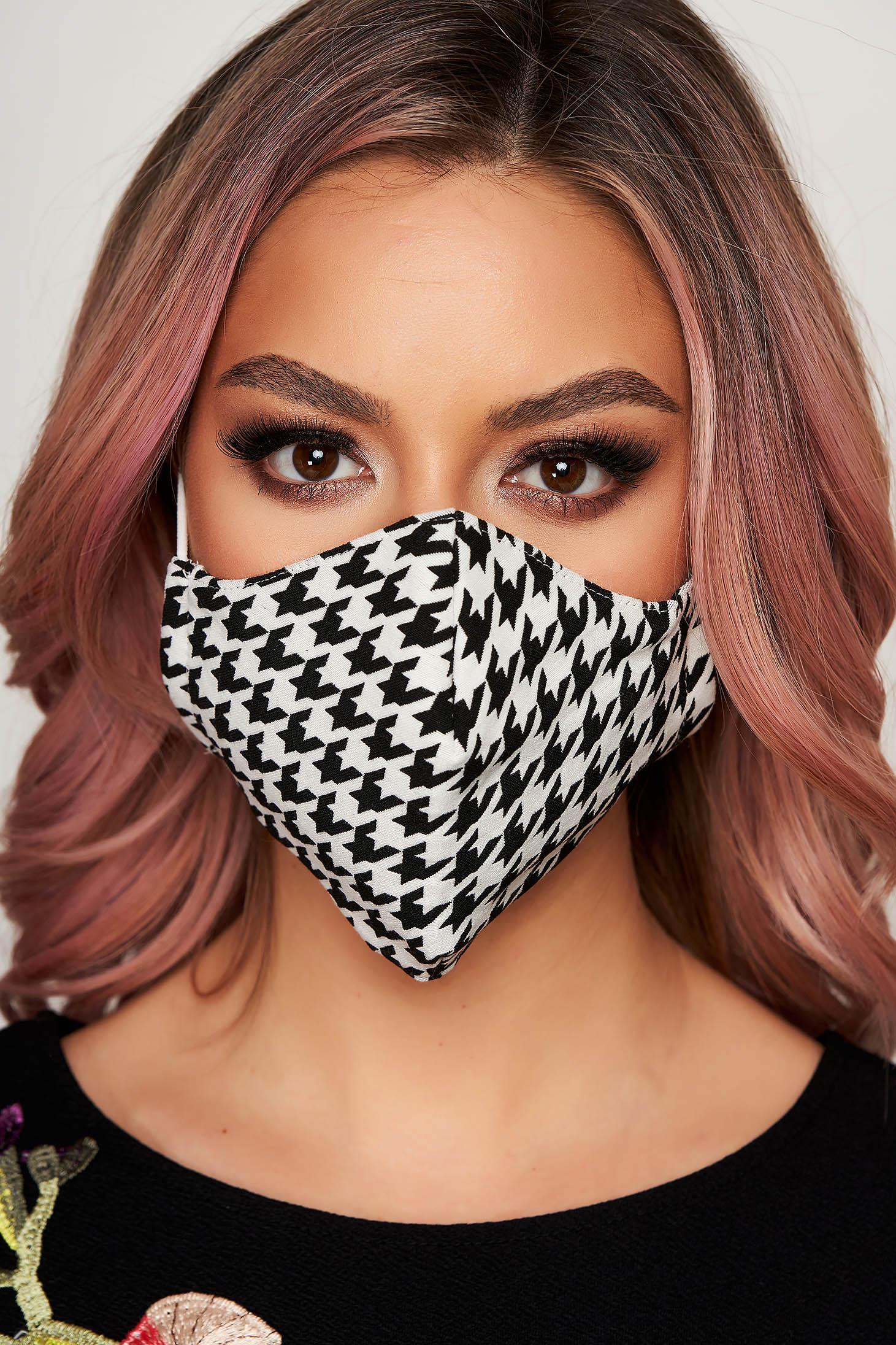 Masca textila pentru femei StarShinerS cu imprimeu dogtooth