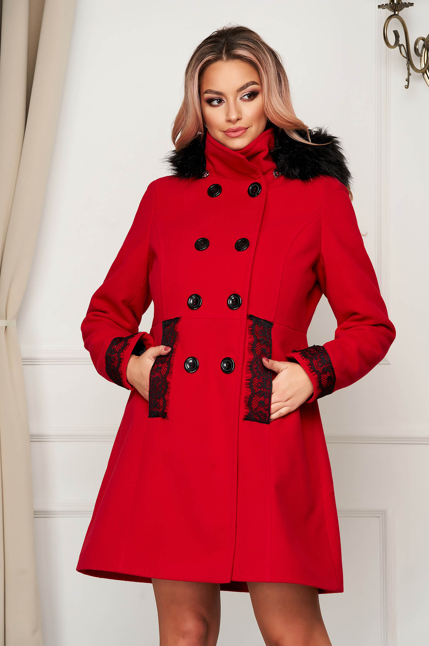 Elegant coat red wool short cut cloche with furry hood