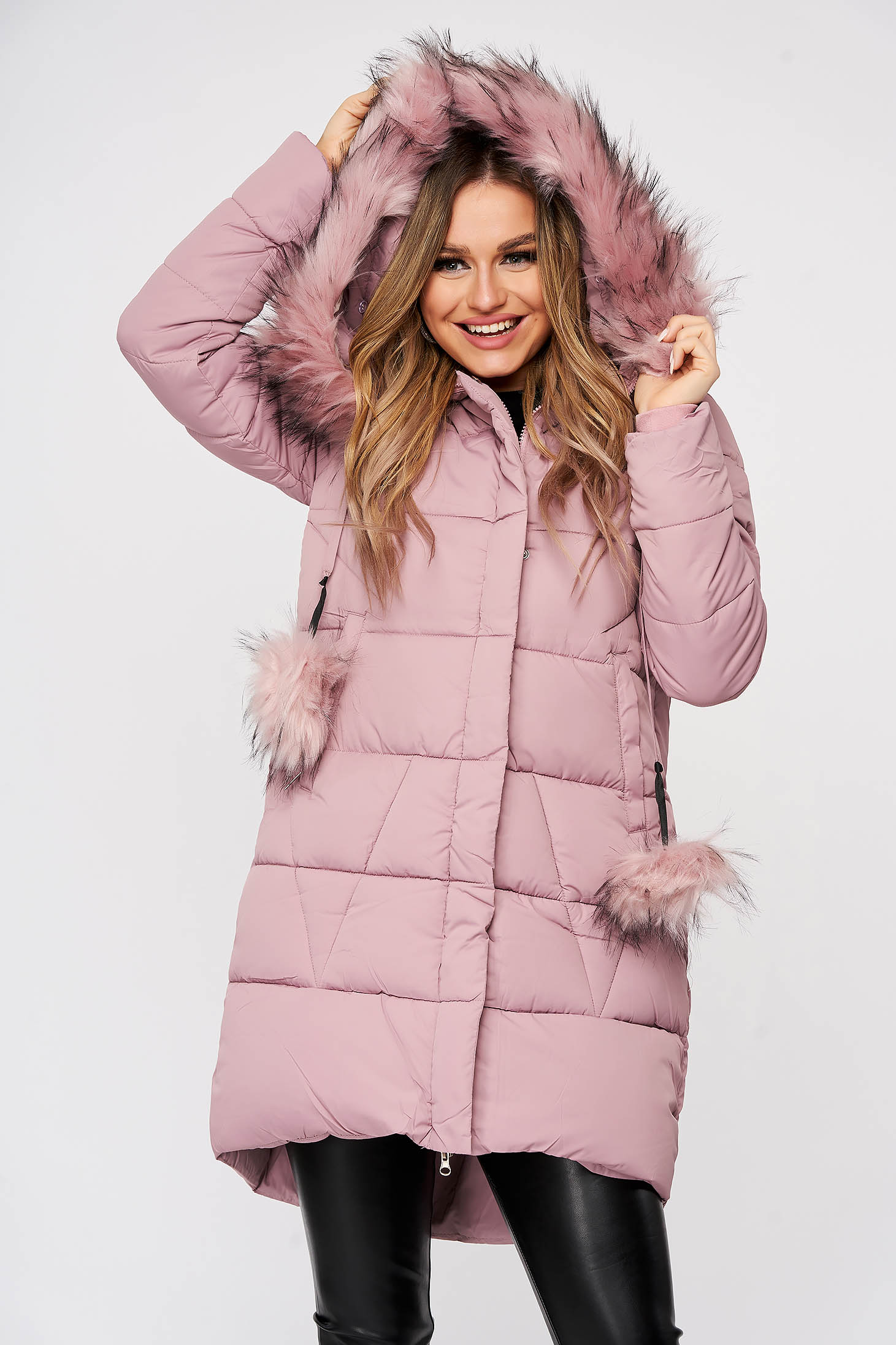 Jacket lightpink from slicker with furry hood with pockets long with tassels