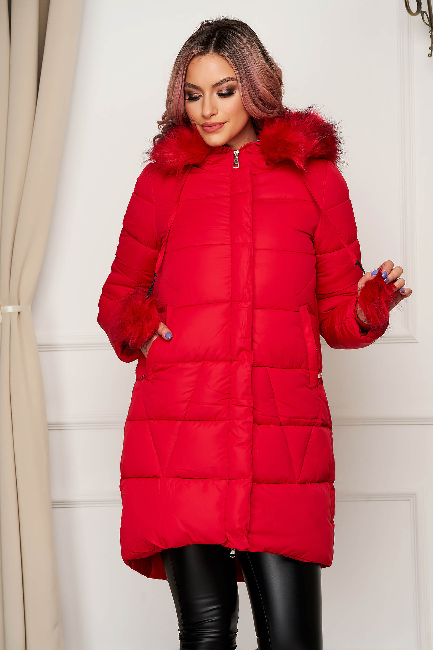 Jacket red from slicker with furry hood with pockets long with tassels