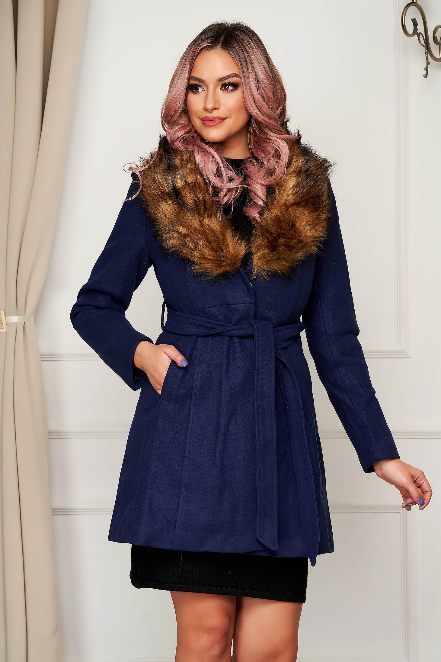 Coat cloche elegant blue fur collar with pockets