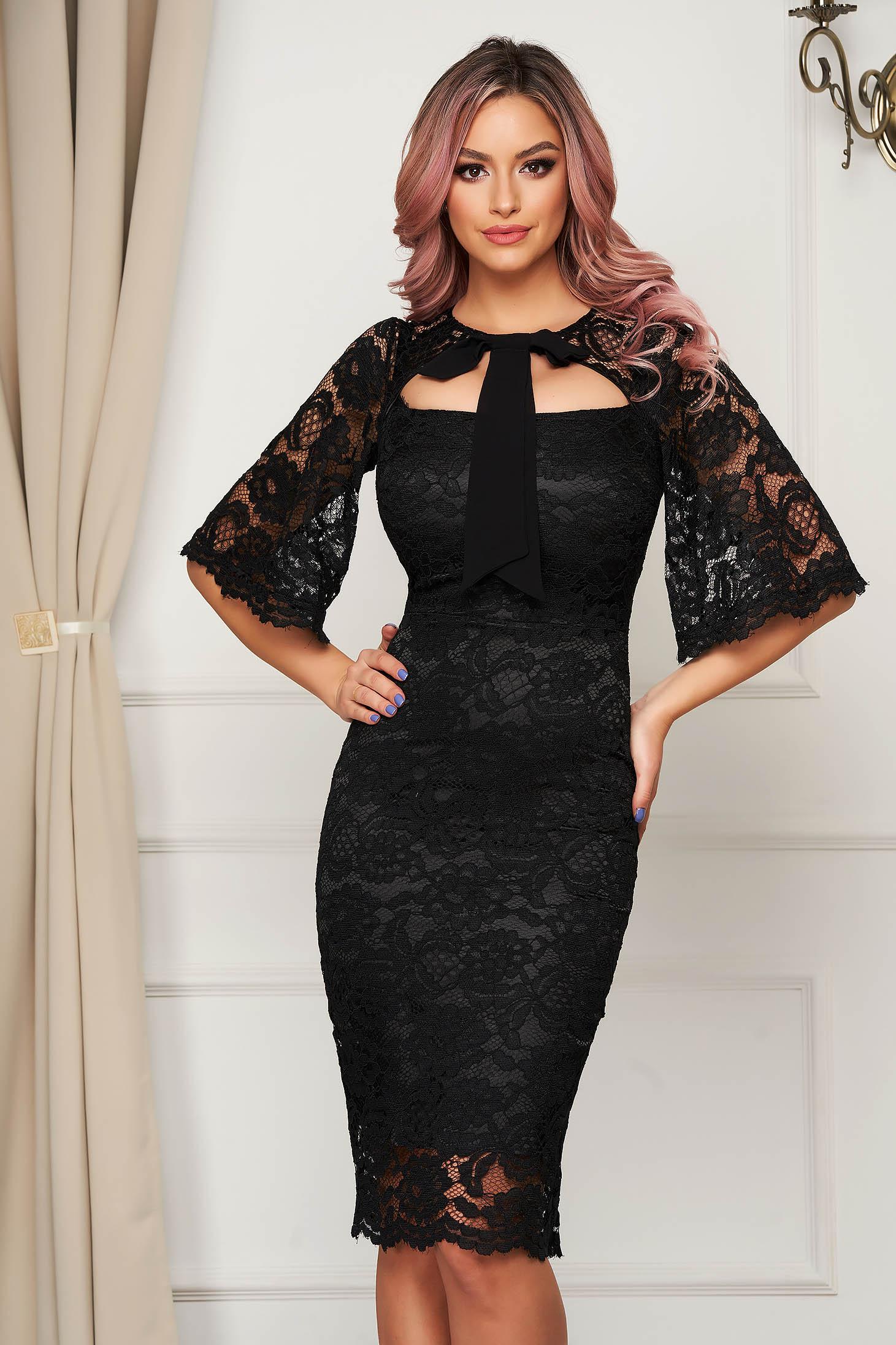 Elegant black dress laced midi pencil with bow