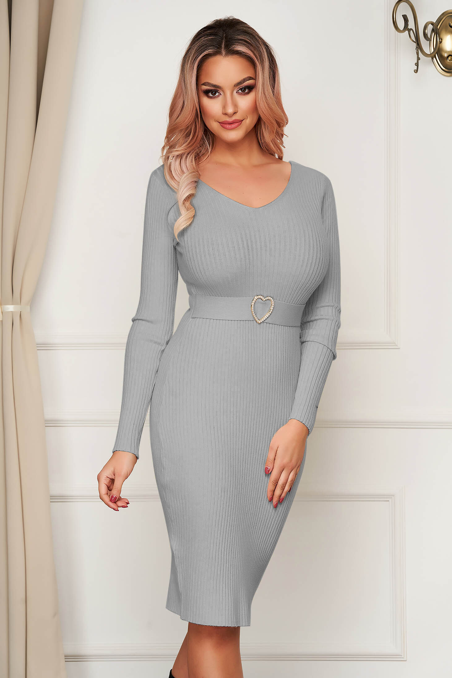 Grey dress midi pencil knitted with v-neckline daily