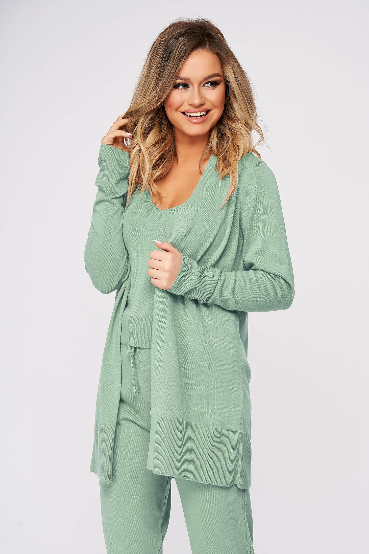 Casual knitted fabric lightgreen sport 2 pieces women`s sweater