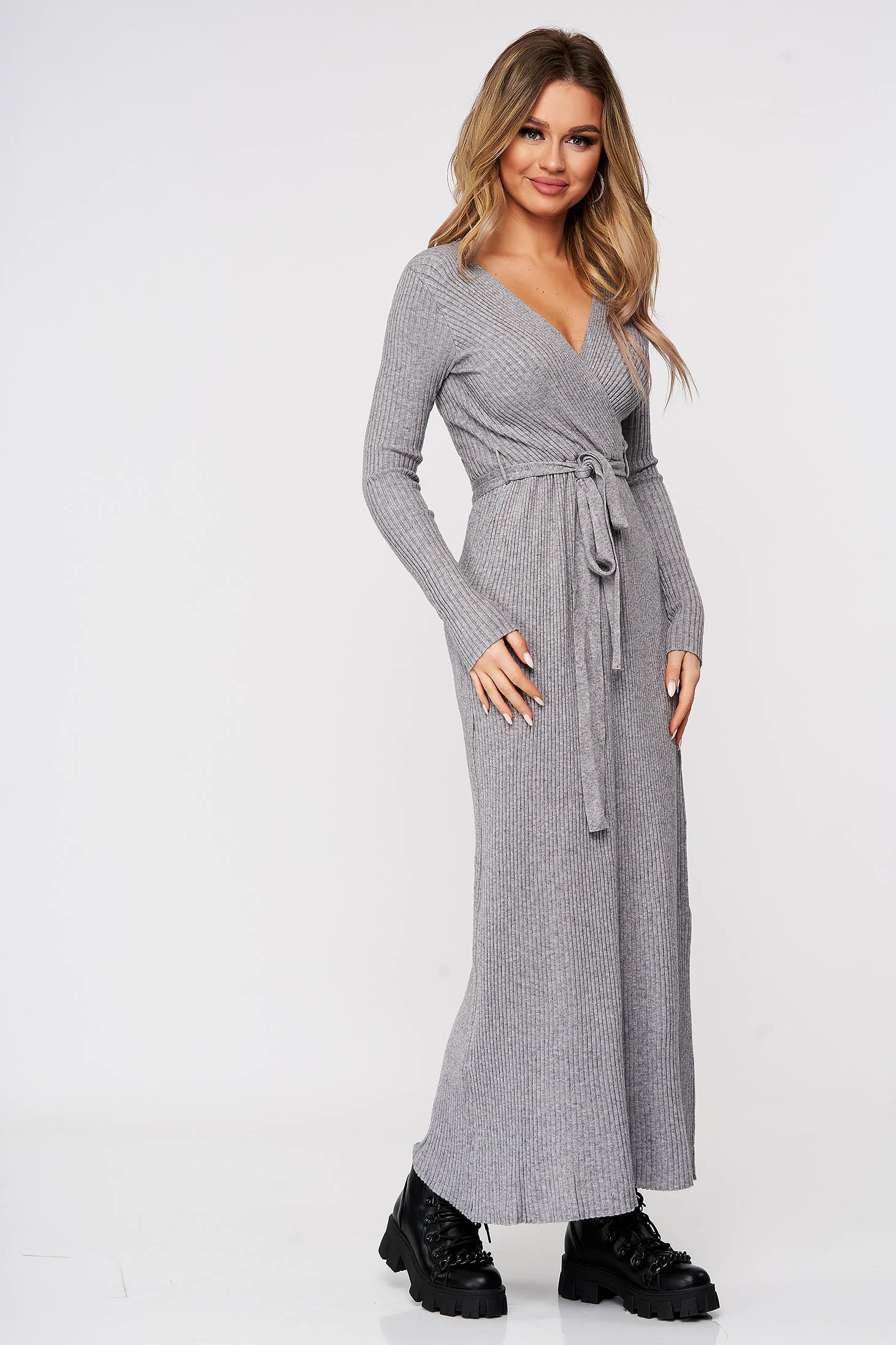 Rochie SunShine casual gri tricotata accesorizata cu cordon din material reiat elastic si fin
