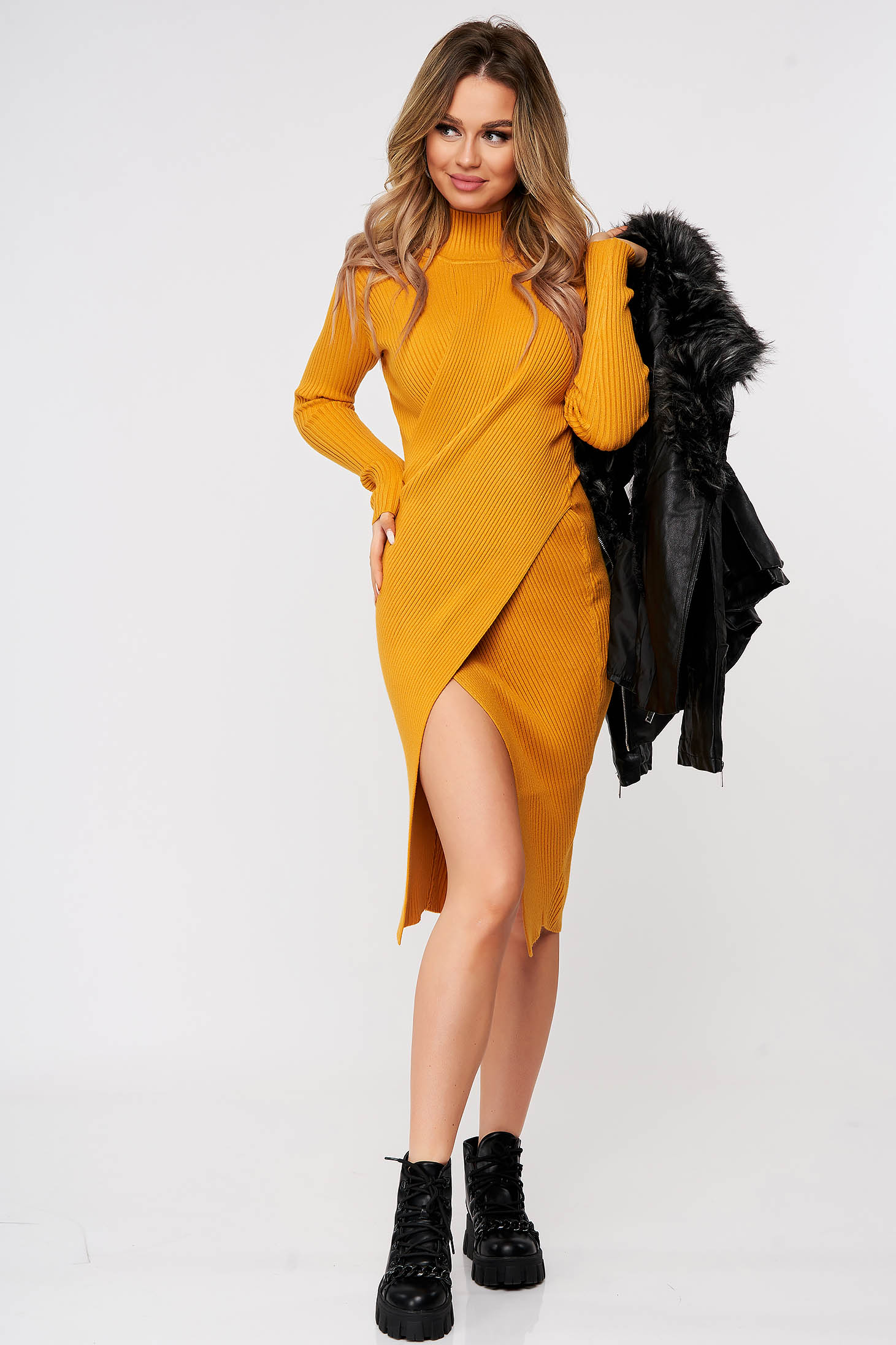 Mustard dress wrap over skirt slit knitted from striped fabric midi