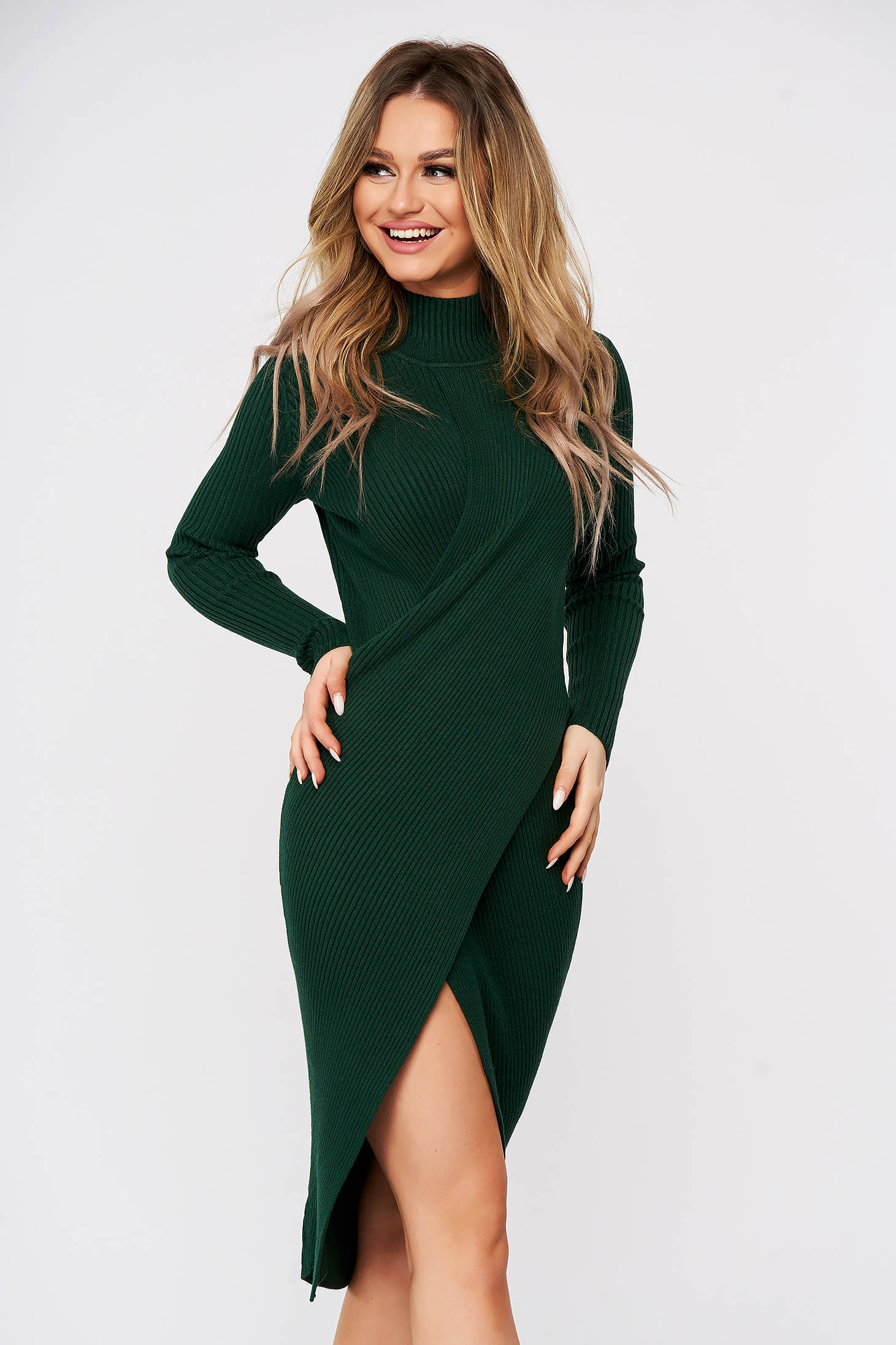 Green dress wrap over skirt slit knitted from striped fabric midi