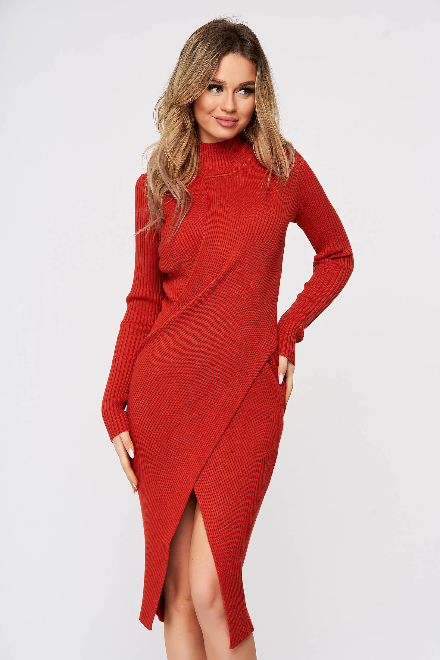 Bricky dress wrap over skirt slit knitted from striped fabric midi