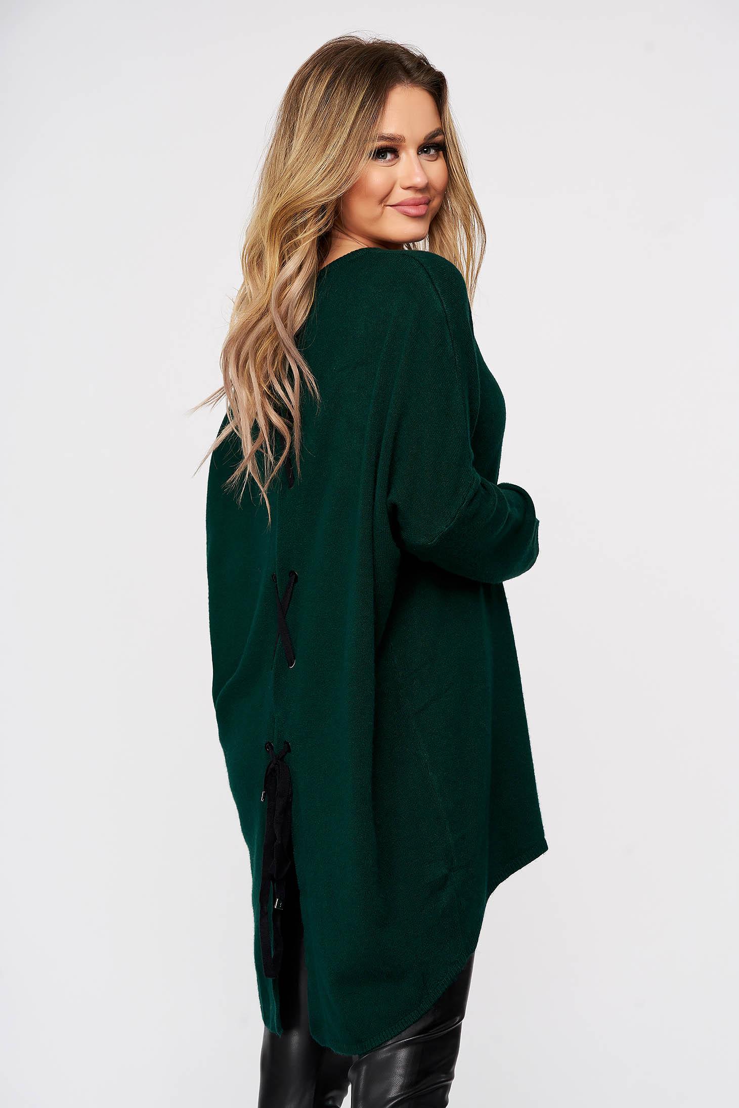 Bluza dama SunShine verde tricotata din material elastic si fin cu croi larg cu snur si slit la spate