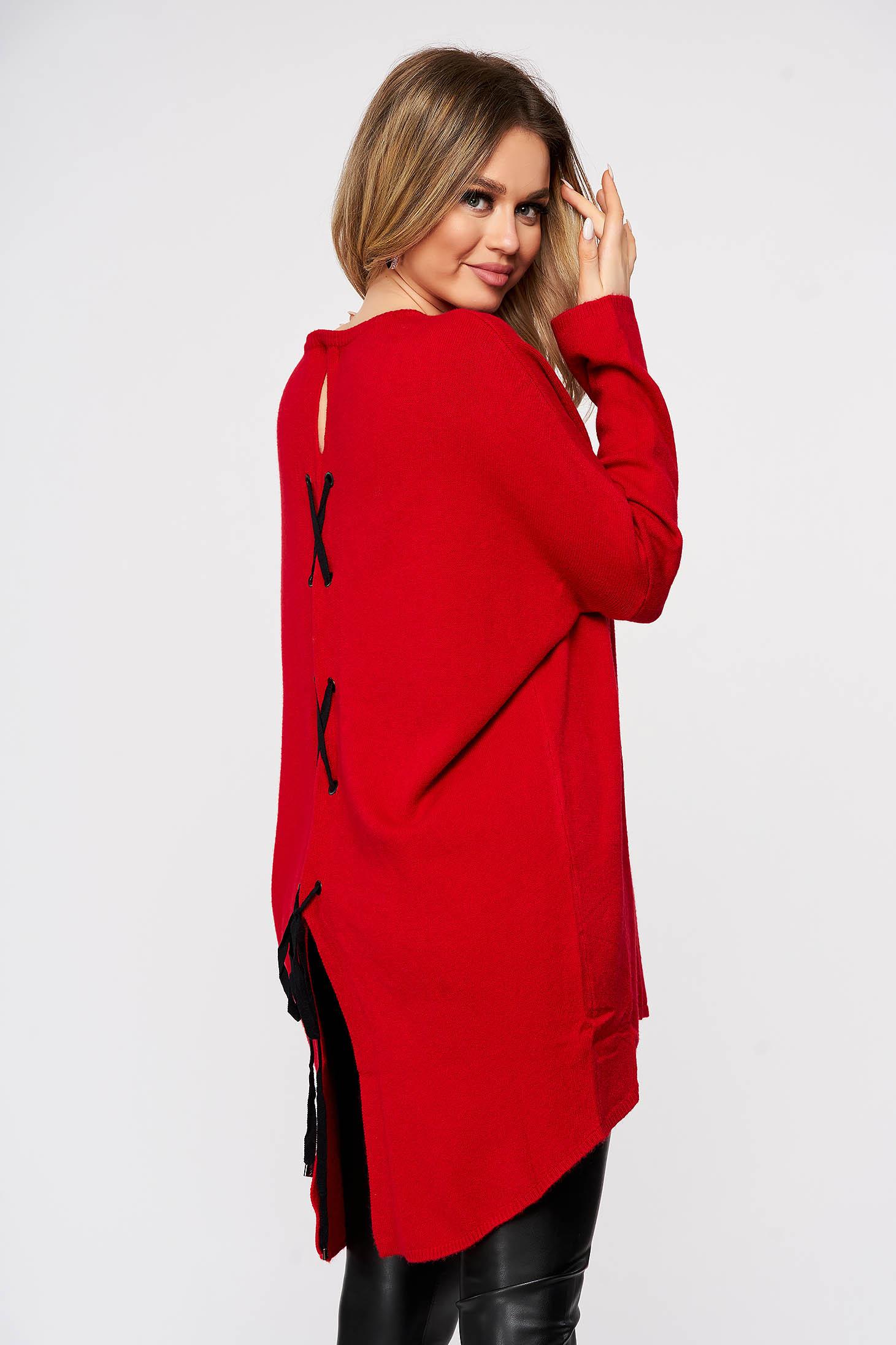 Bluza dama SunShine rosie tricotata din material elastic si fin cu croi larg cu snur si slit la spate