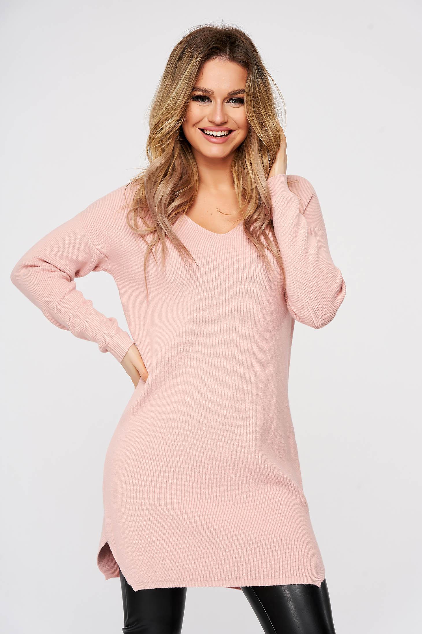 Bluza SunShine roz tricotat din material reiat elastic si fin slit lateral cu decolteu in v