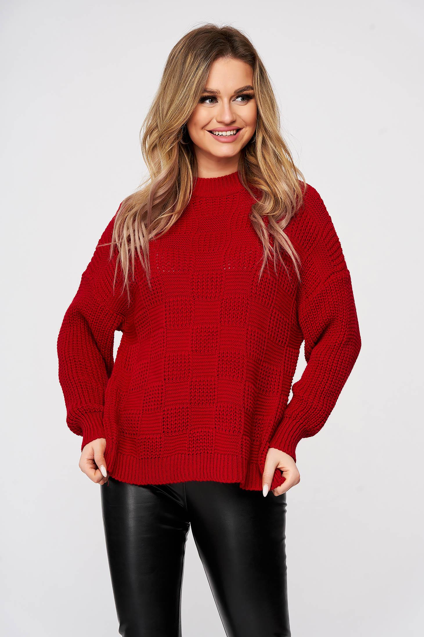Pulover SunShine rosu casual tricotat cu cusaturi in material cu croi larg