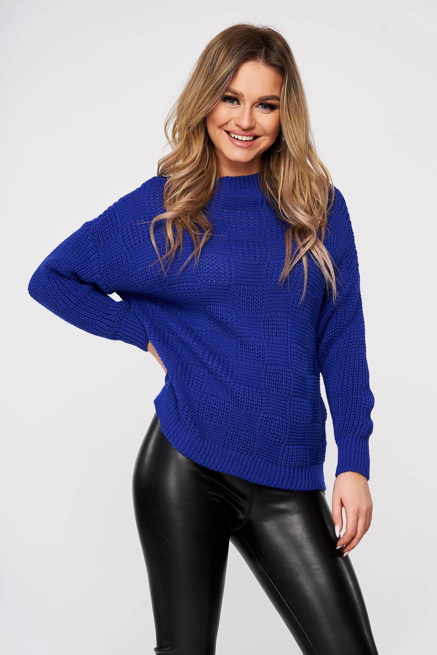 Pulover SunShine albastru casual tricotat cu cusaturi in material cu croi larg