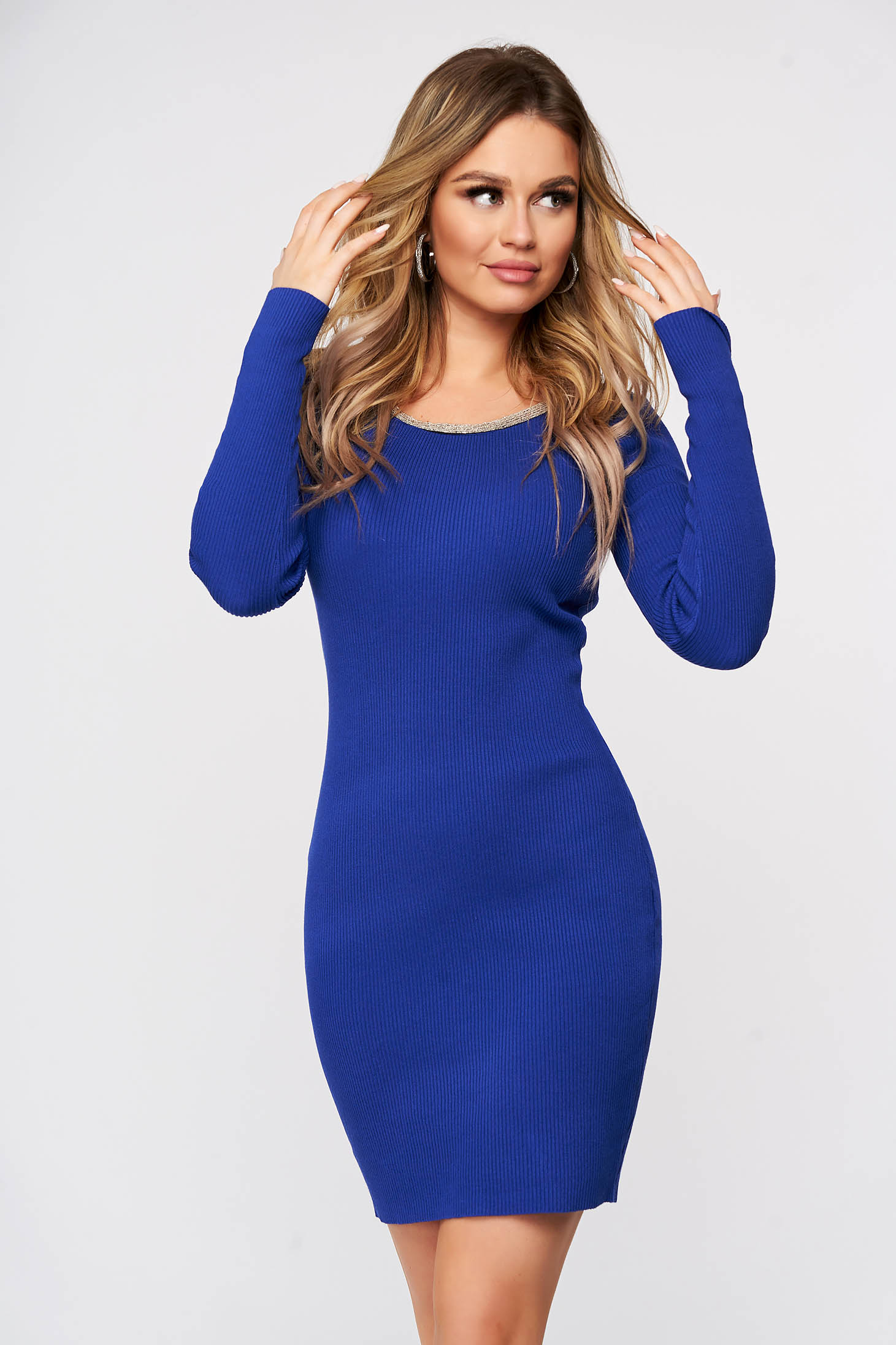 Blue dress from elastic fabric from striped fabric knitted with metal accessories neckline