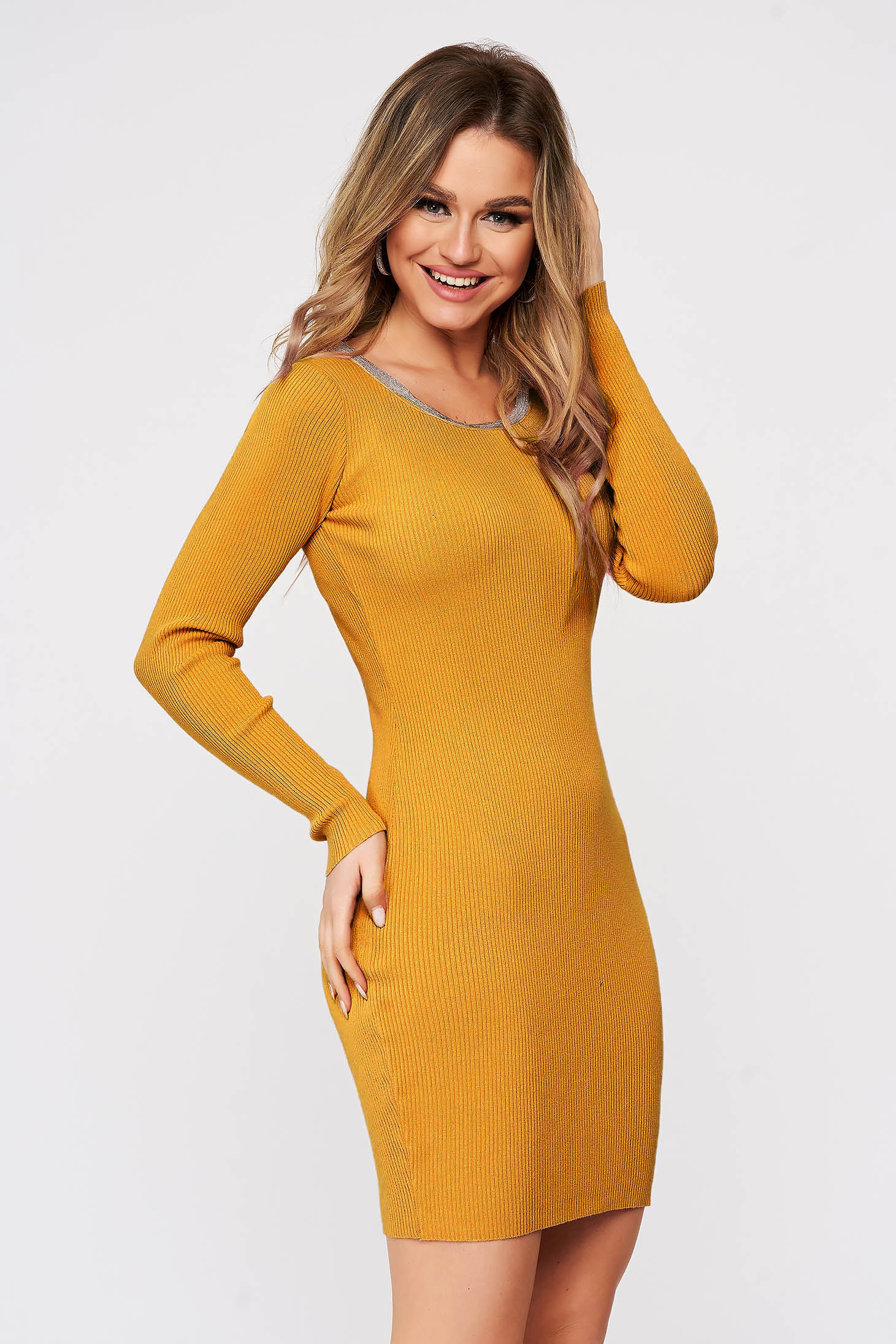 Mustard dress from elastic fabric from striped fabric knitted with metal accessories neckline