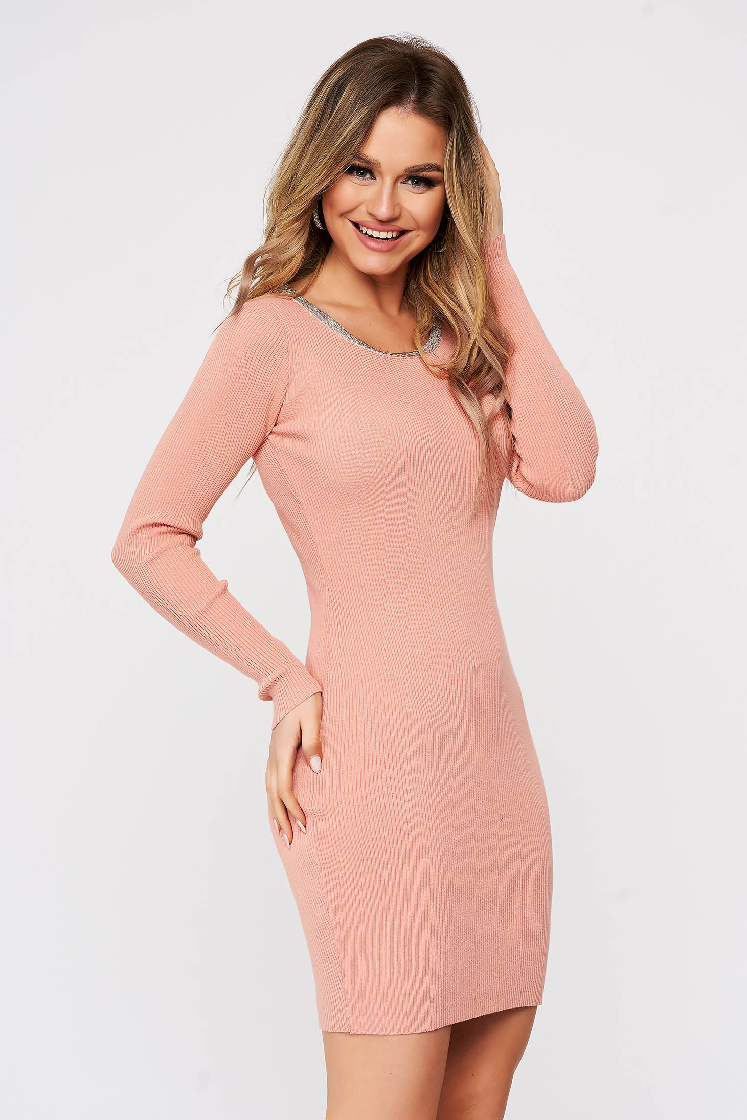 Pink dress from elastic fabric from striped fabric knitted with metal accessories neckline