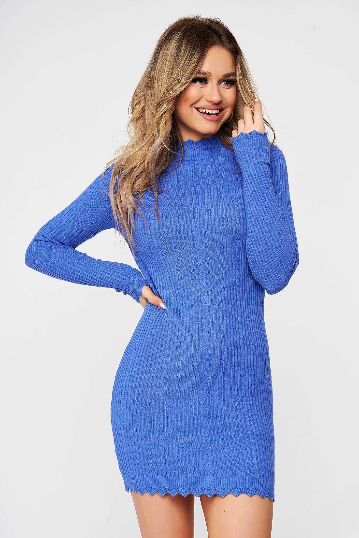 Rochie SunShine albastra tricotata cusaturi fine si in relief din material elastic reiat