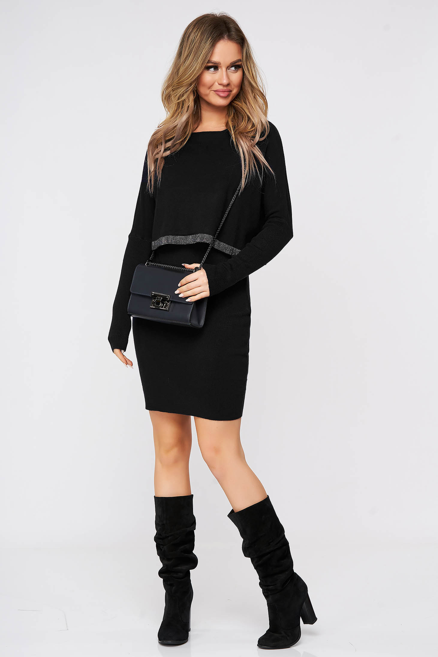 Black dress with crystal embellished details from soft fabric knitted