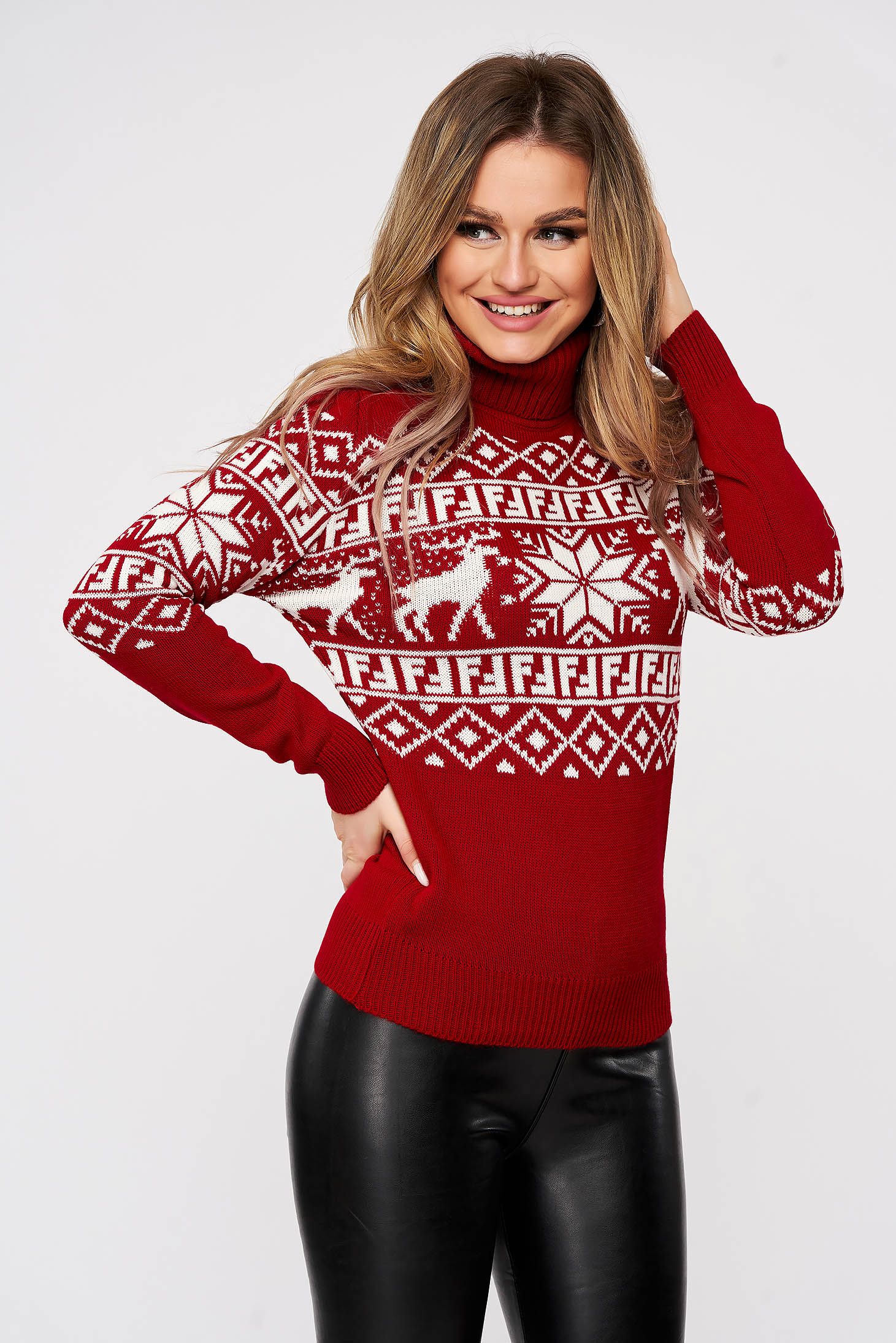 Casual red sweater with print details with turtle neck knitted fabric
