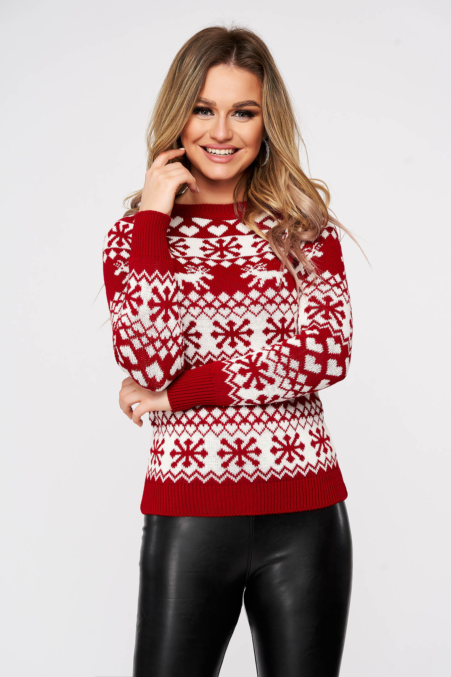 Red casual with print details sweater knitted fabric slightly elastic fabric