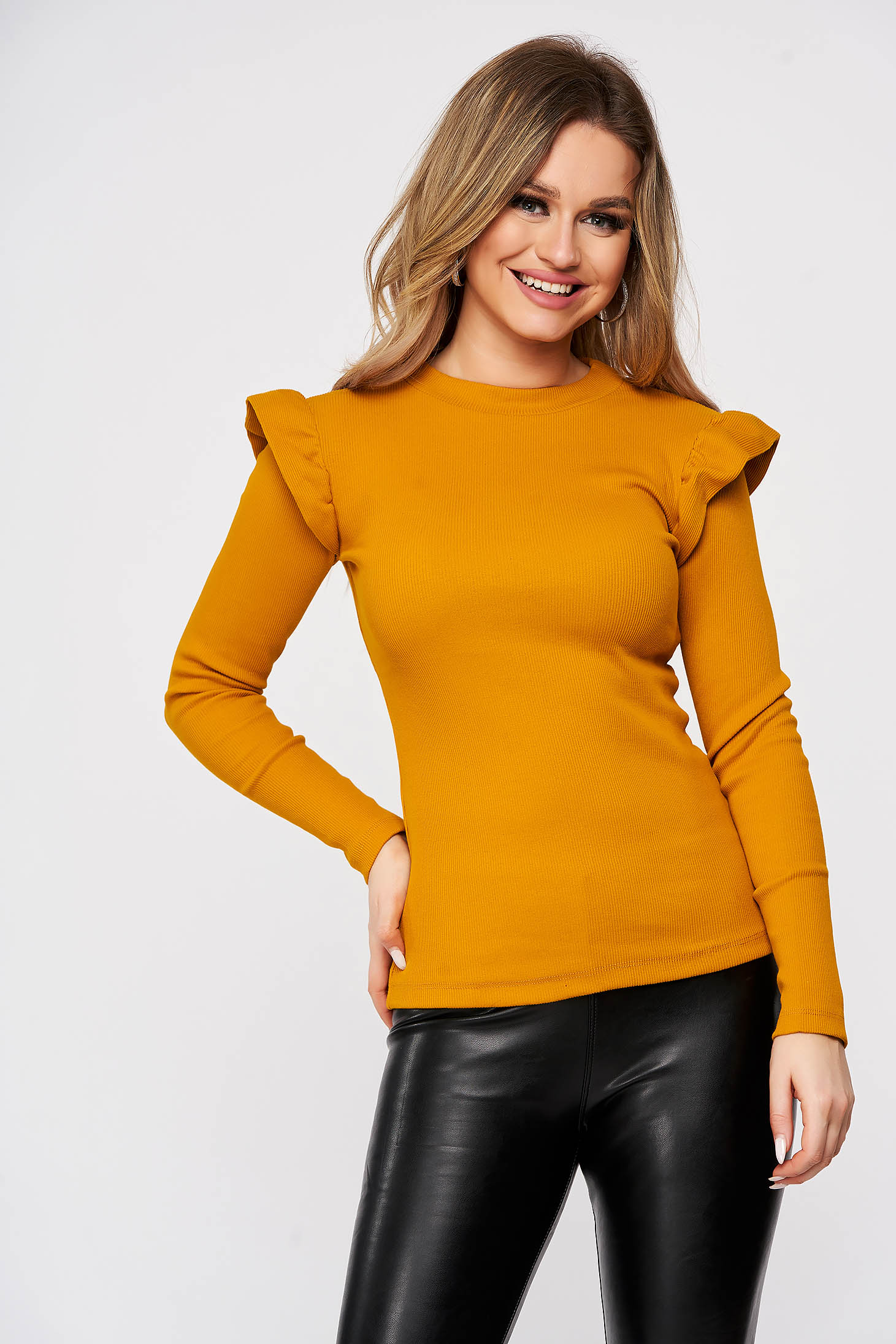 Casual cotton mustard women`s blouse from striped fabric top wrinkled sleeves