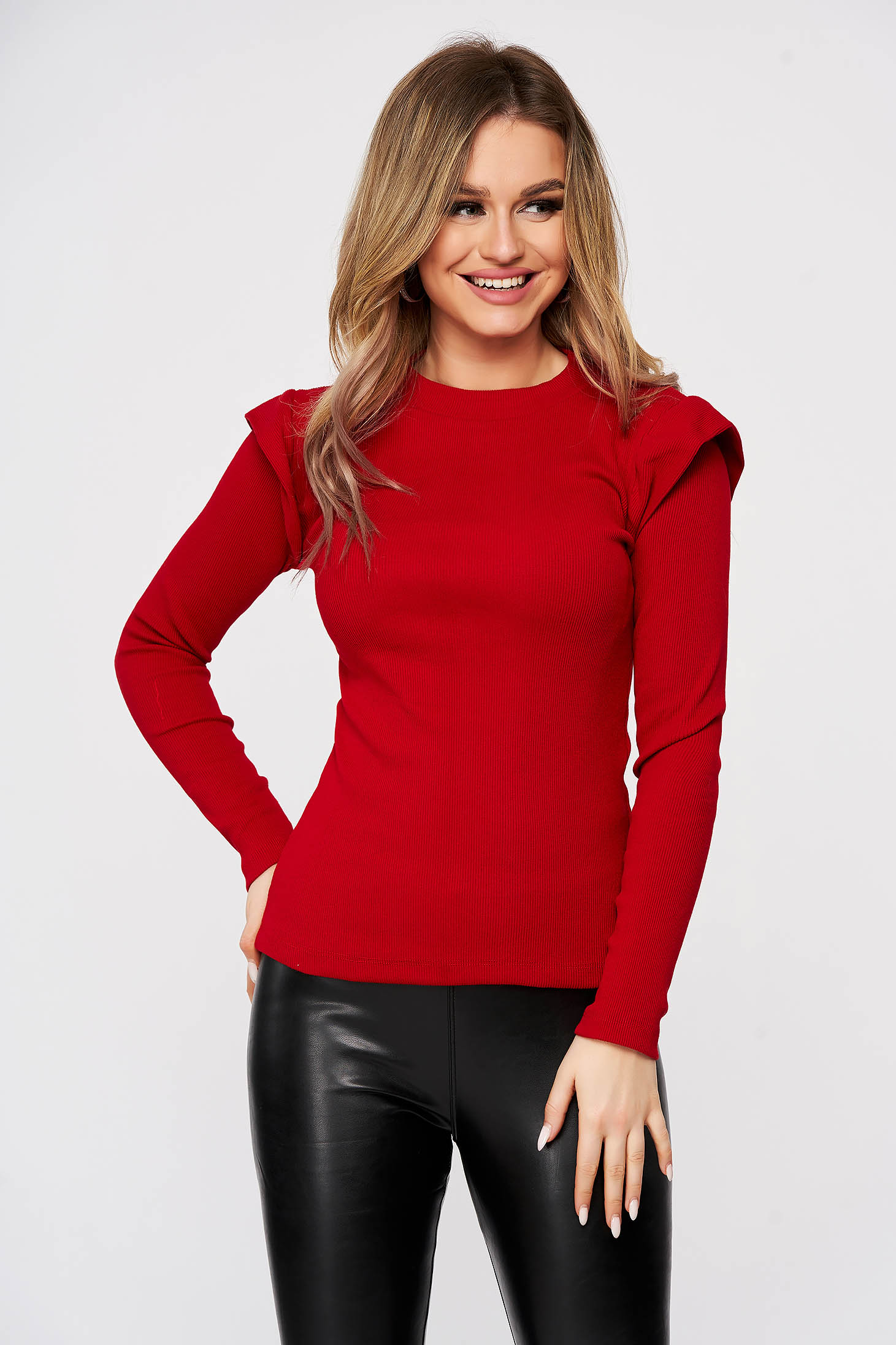 Casual cotton red women`s blouse from striped fabric top wrinkled sleeves