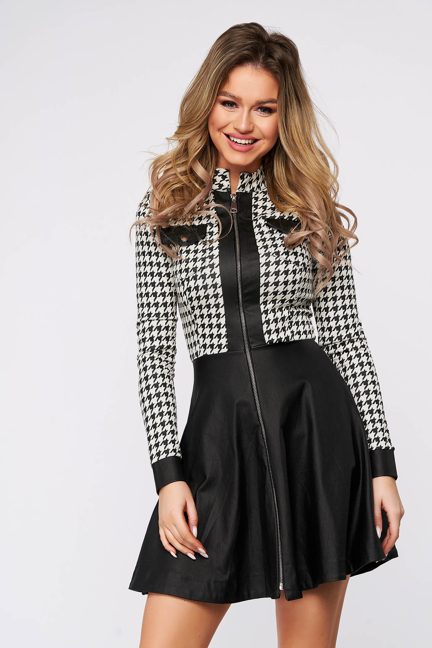 Dress black from elastic fabric zipper fastening dogtooth cloche