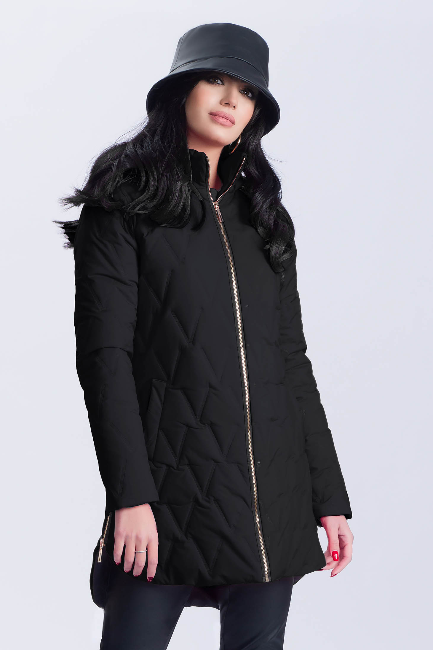 Jacket asymmetrical casual black from slicker the jacket has hood and pockets