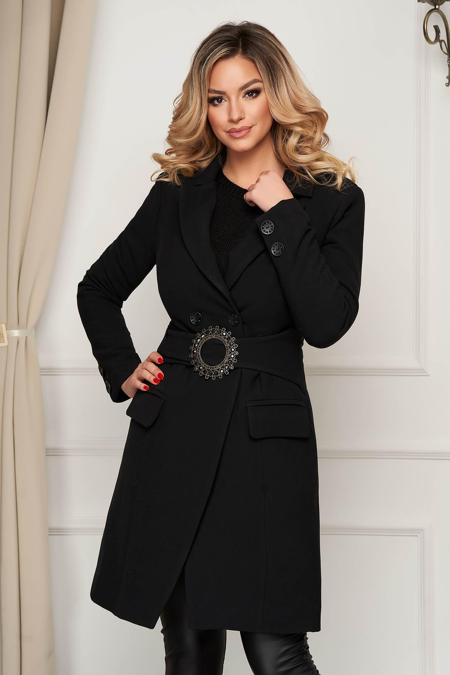 Palton negru elegant cambrat cu accesoriu tip curea se inchide cu nasturi din material gros elastic