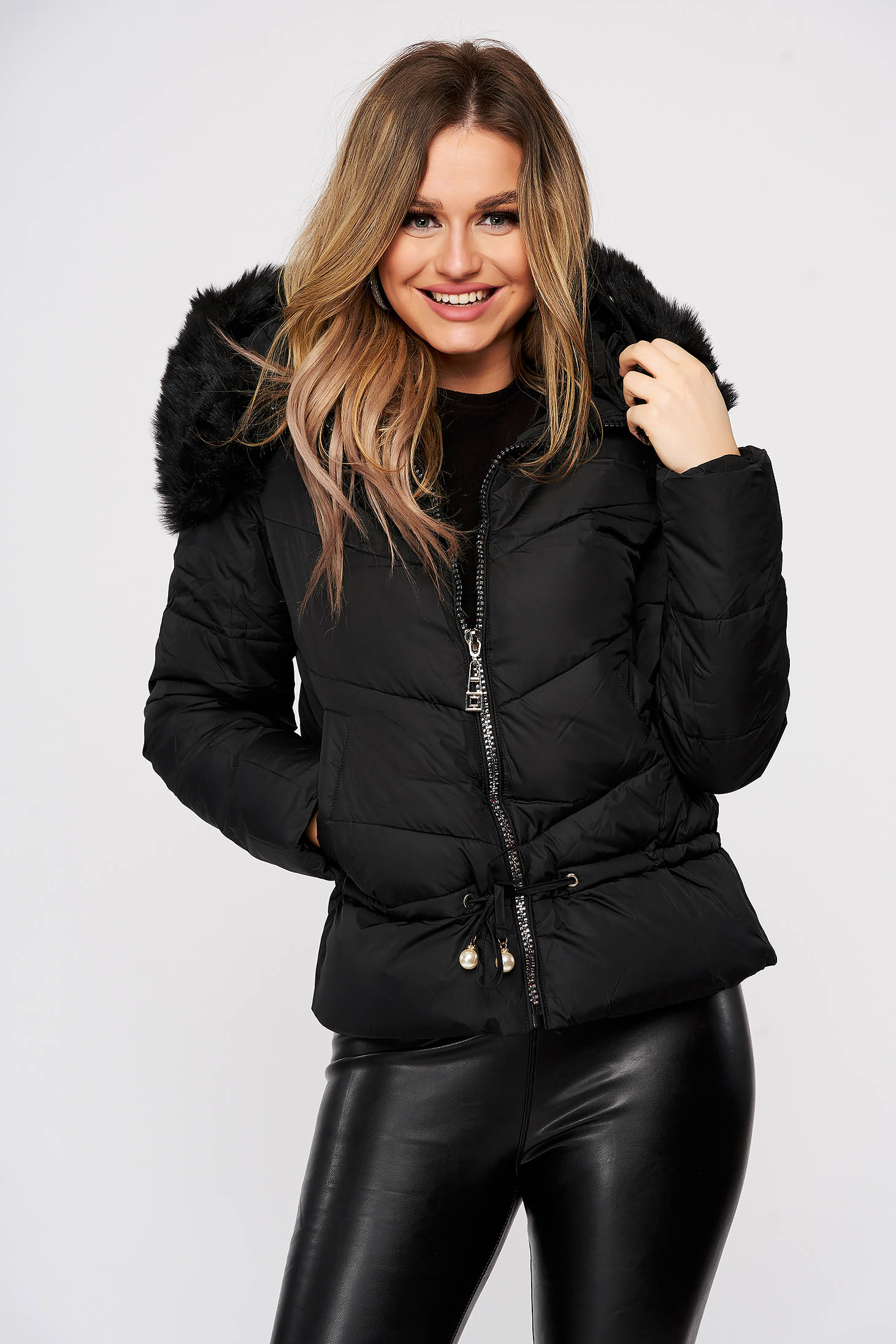 Black jacket ribbon fastening with faux fur accessory detachable hood from slicker casual