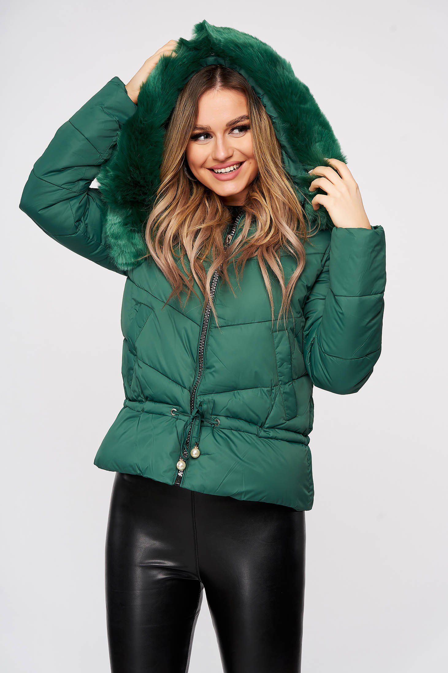 Green jacket ribbon fastening with faux fur accessory detachable hood from slicker casual